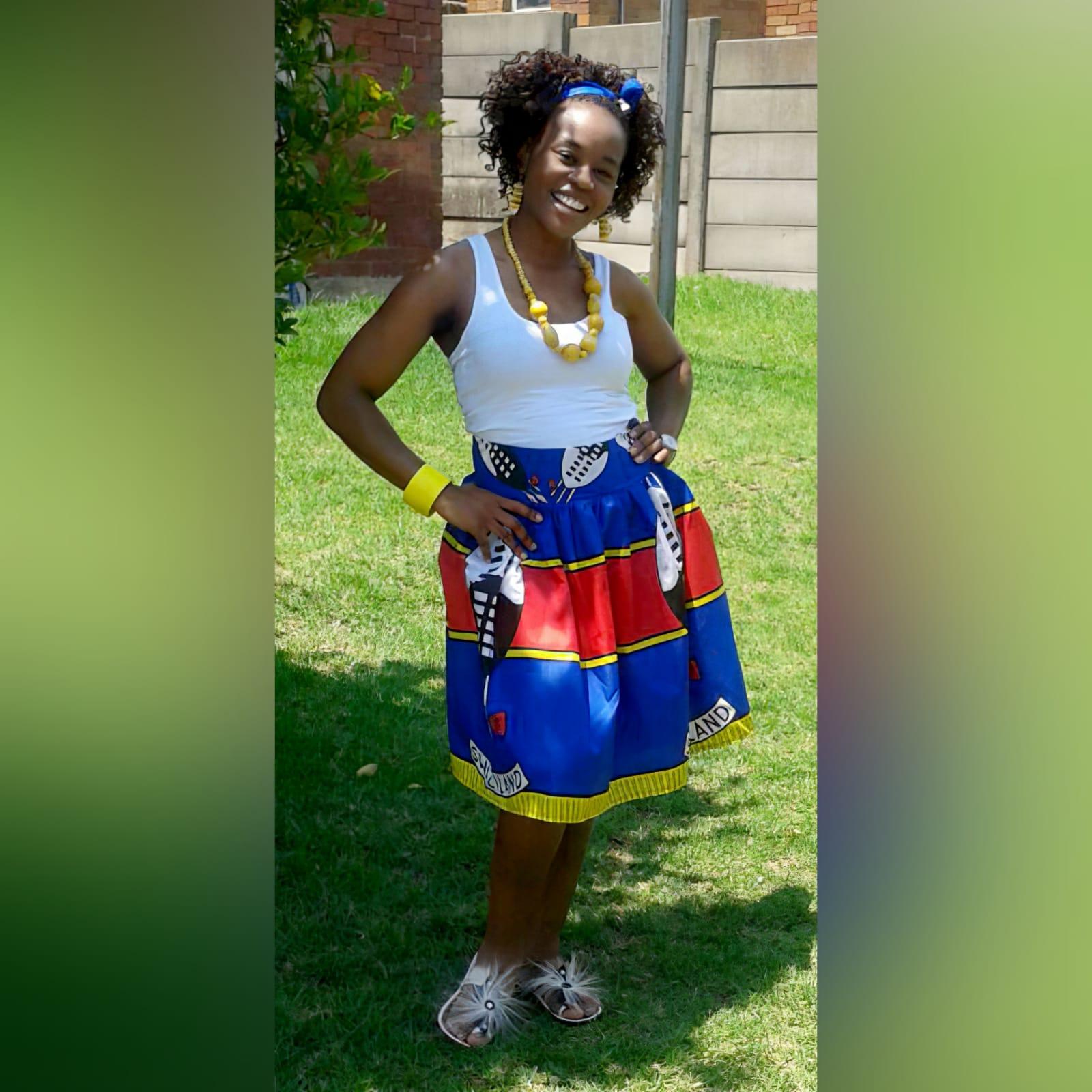 Swati traditional wedding attire 4 mens swazi/swati short sleeve shirt. High waisted swazi/swati skirt. High waisted pleated swazi/swati skirt with crossed shoulder straps. One sleeve little girls swazi/swati dress with shoulder strap. Traditional wedding attire