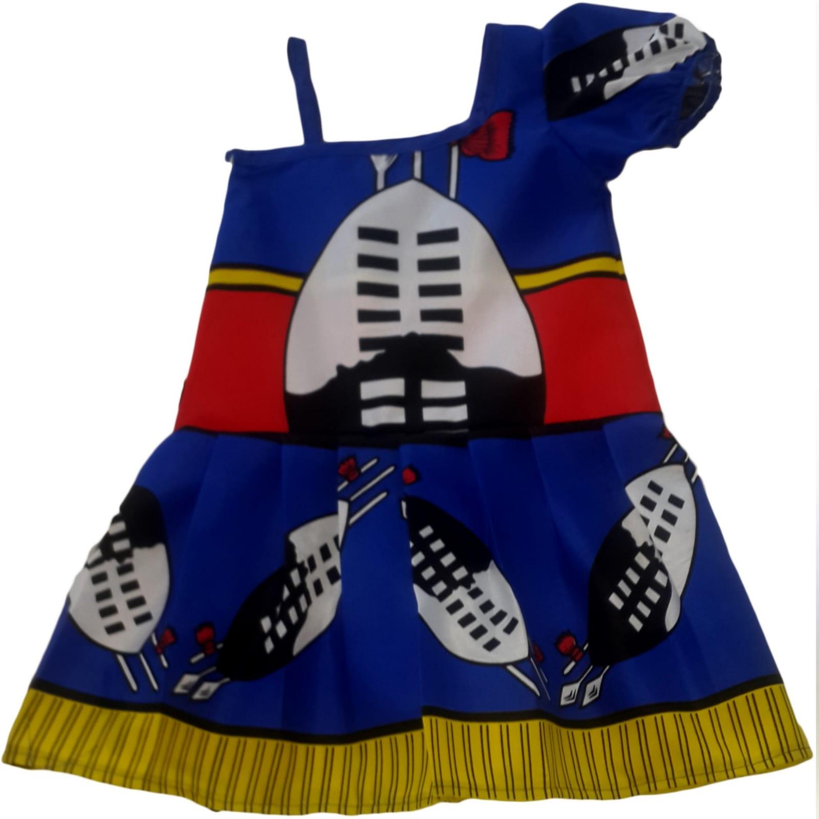 Swati traditional wedding attire 9 mens swazi/swati short sleeve shirt. High waisted swazi/swati skirt. High waisted pleated swazi/swati skirt with crossed shoulder straps. One sleeve little girls swazi/swati dress with shoulder strap. Traditional wedding attire