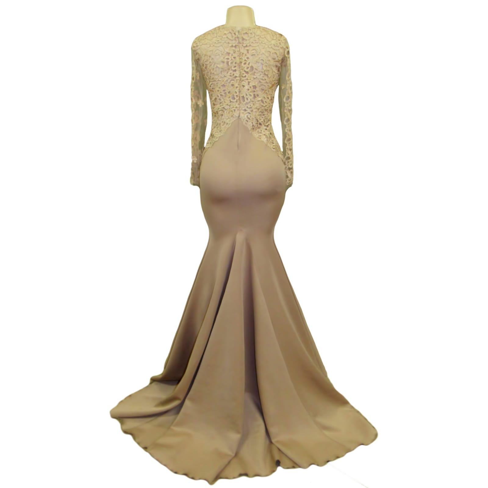 Tan and champagne lace bodice prom dress 3 tan & champagne lace bodice, soft mermaid prom dress, lace detail going to the hips. With a closed lace back. Illusion lace sleeves and a train.