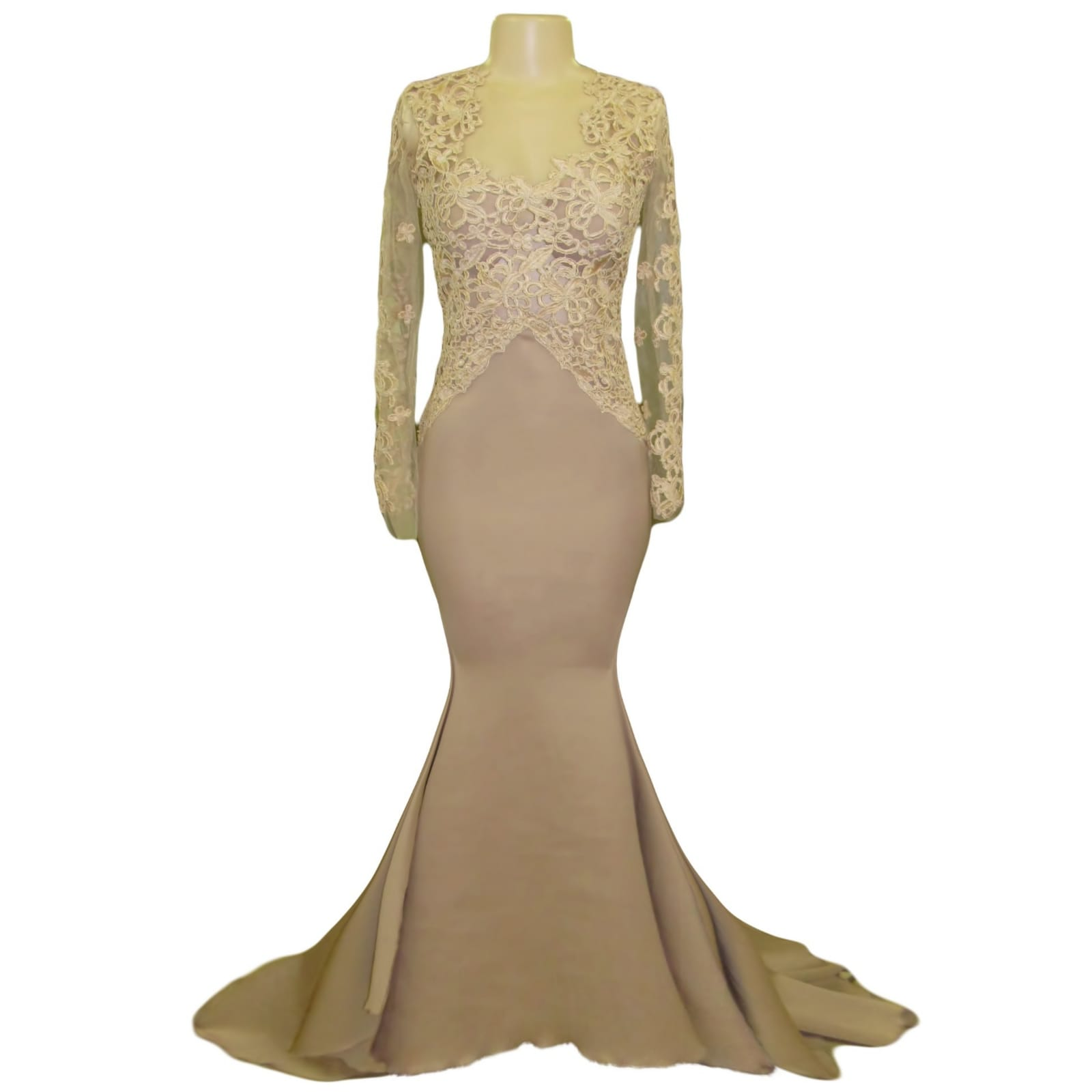 Tan and champagne lace bodice prom dress 4 tan & champagne lace bodice, soft mermaid prom dress, lace detail going to the hips. With a closed lace back. Illusion lace sleeves and a train.