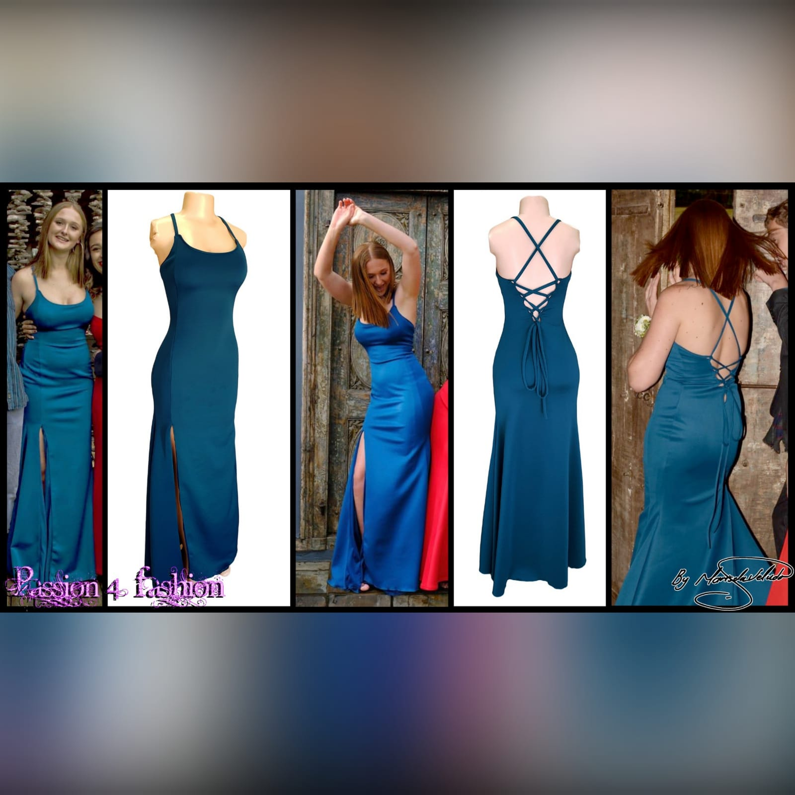 Teal long straight cut prom dress with a slit 4 teal long straight cut prom dress with a slit. Rounded neckline. V back with lace up detail.