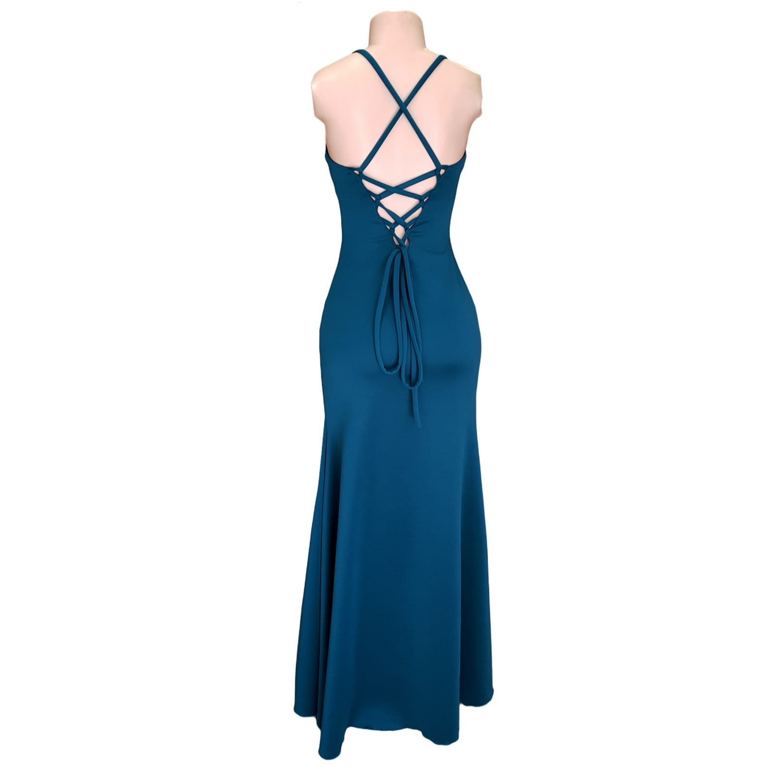 Teal long straight cut prom dress with a slit 5 teal long straight cut prom dress with a slit. Rounded neckline. V back with lace up detail.