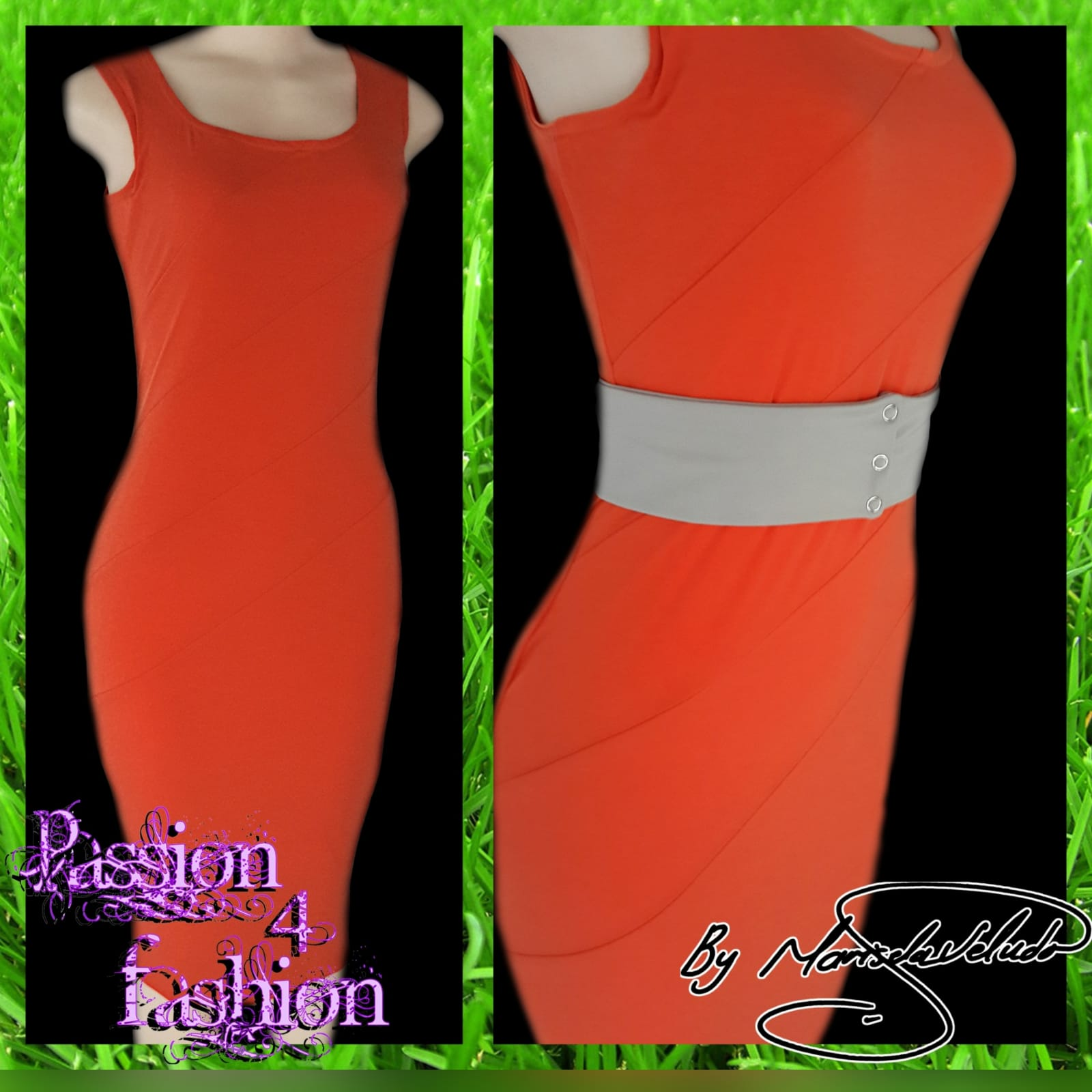 Tight fitted orange smart casual dress 4 tight fitted orange smart casual dress with angular panels and an optional beige belt