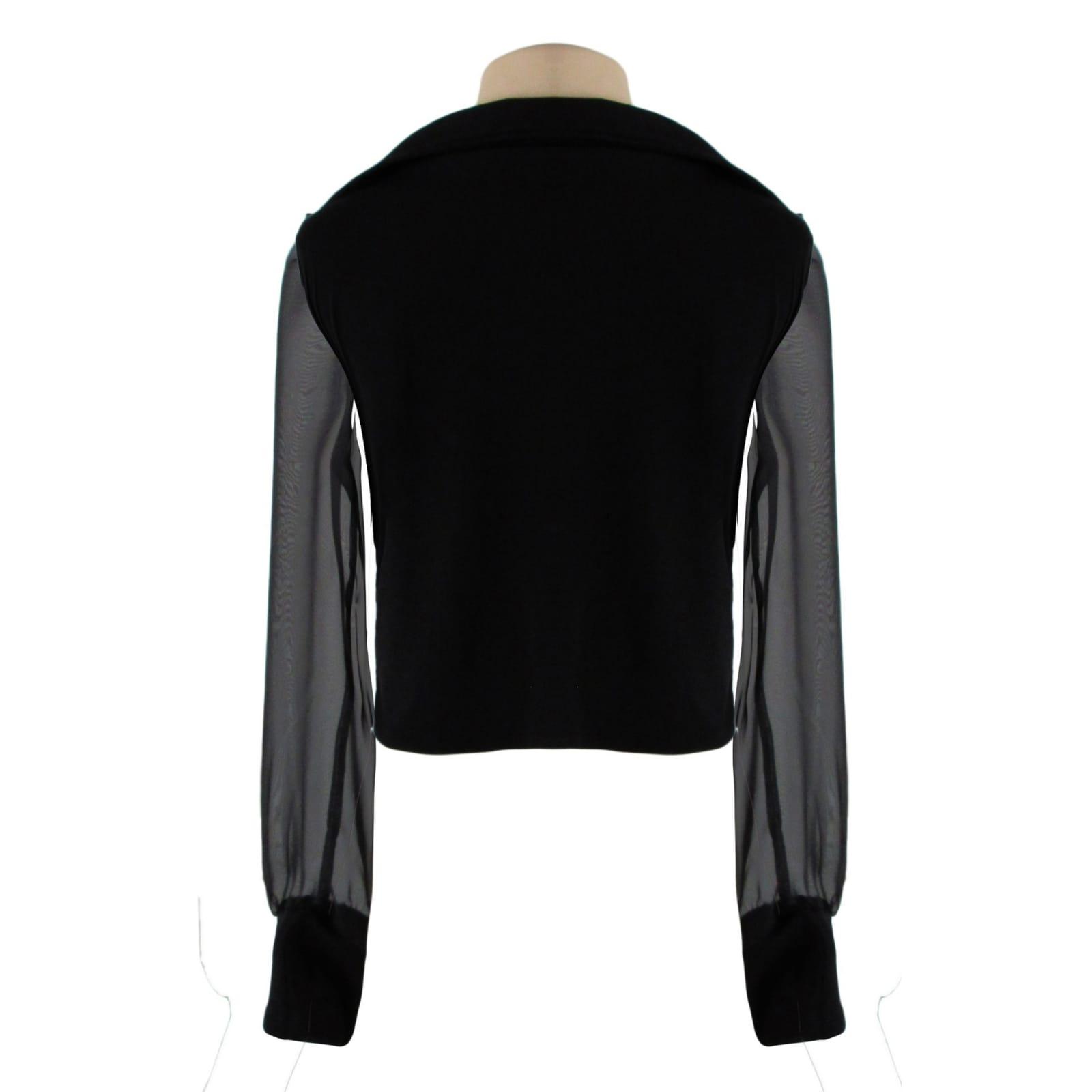 Smart casual v neck black crop top 3 smart casual v neck, black crop top with a back collar, sheer long sleeves. Black cuff