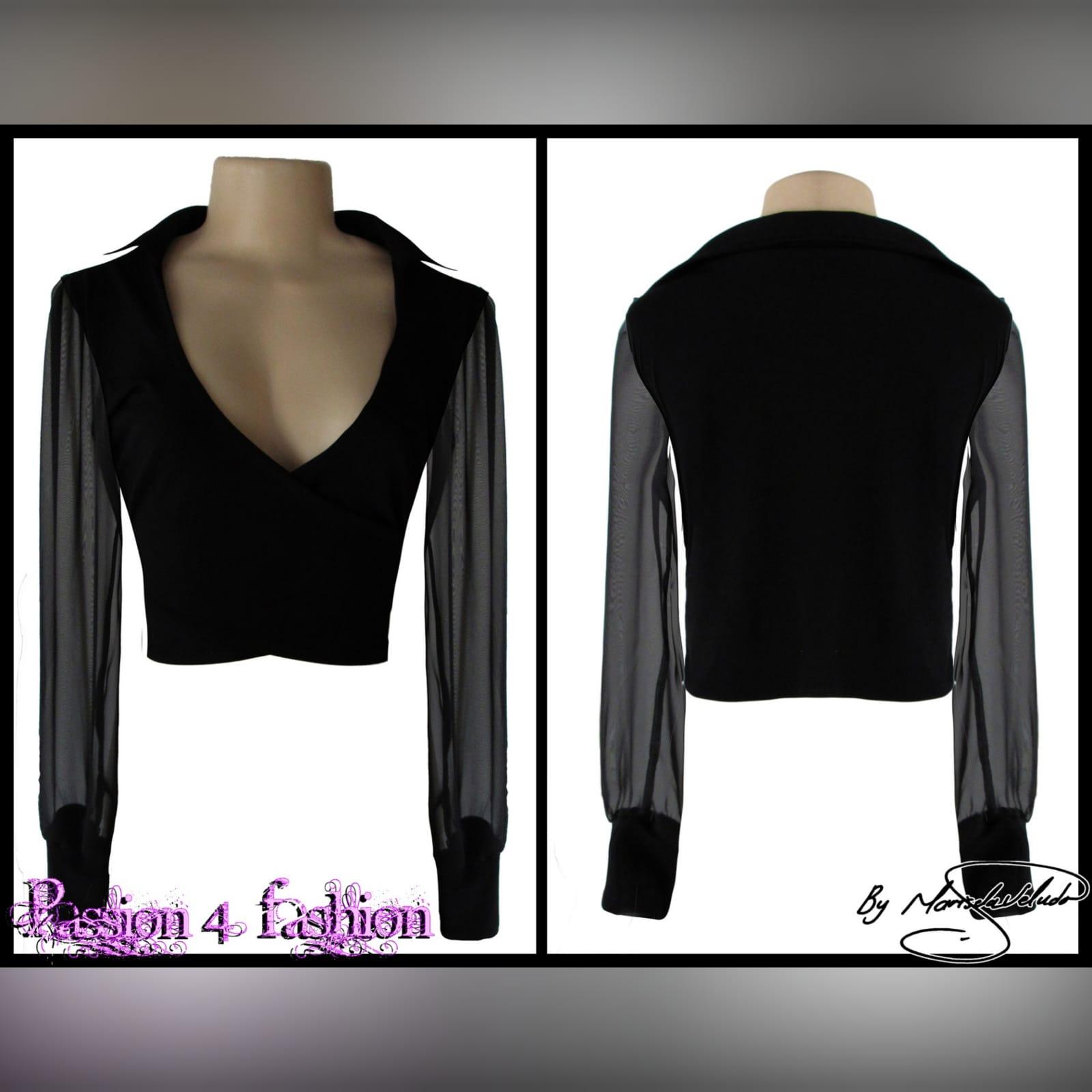 Smart casual v neck black crop top 2 smart casual v neck, black crop top with a back collar, sheer long sleeves. Black cuff