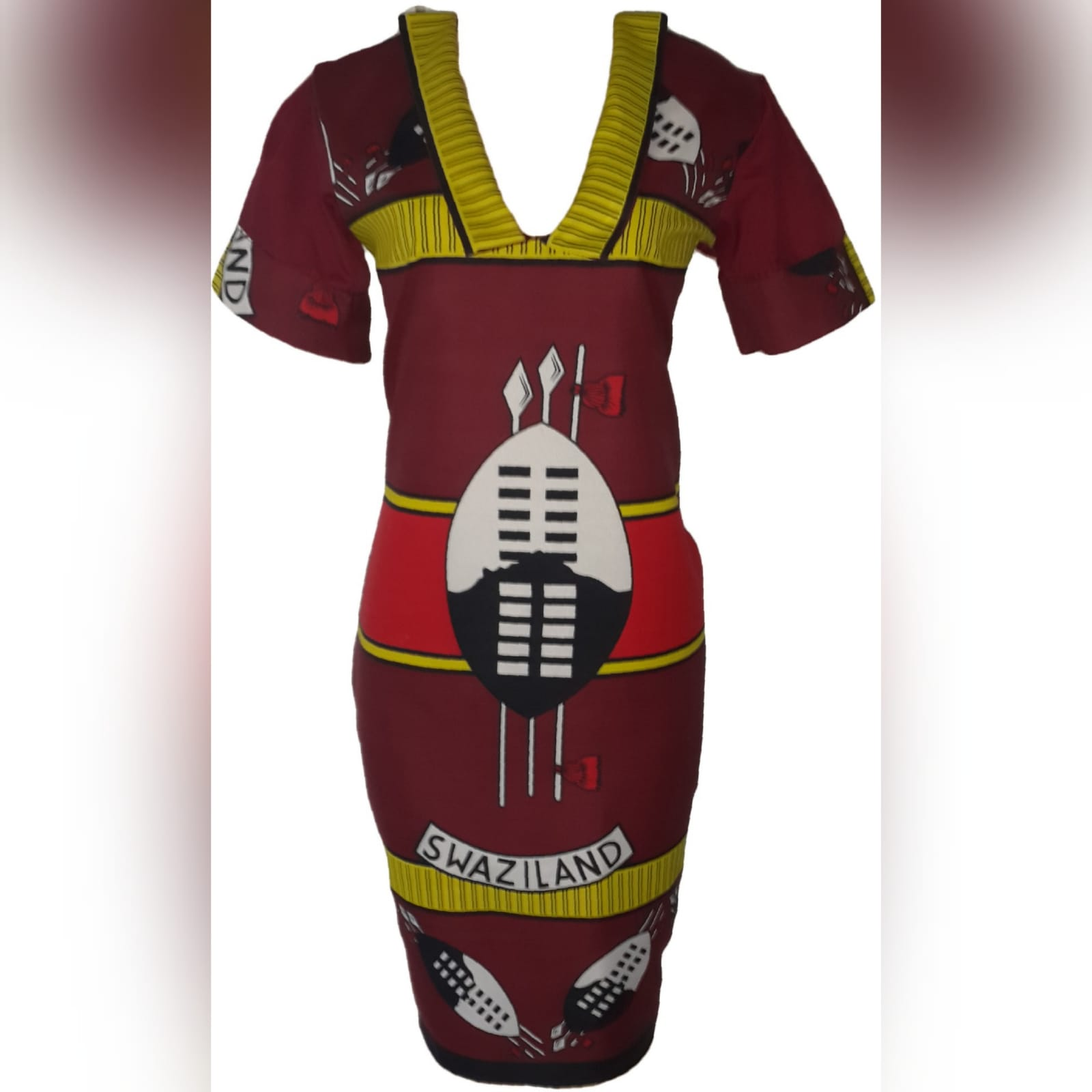 Traditional swati dress with matching swati doek 5 traditional swati dress with a v neckline, finished with a collar design that can be worn in 3 different ways. With a matching swati doek.