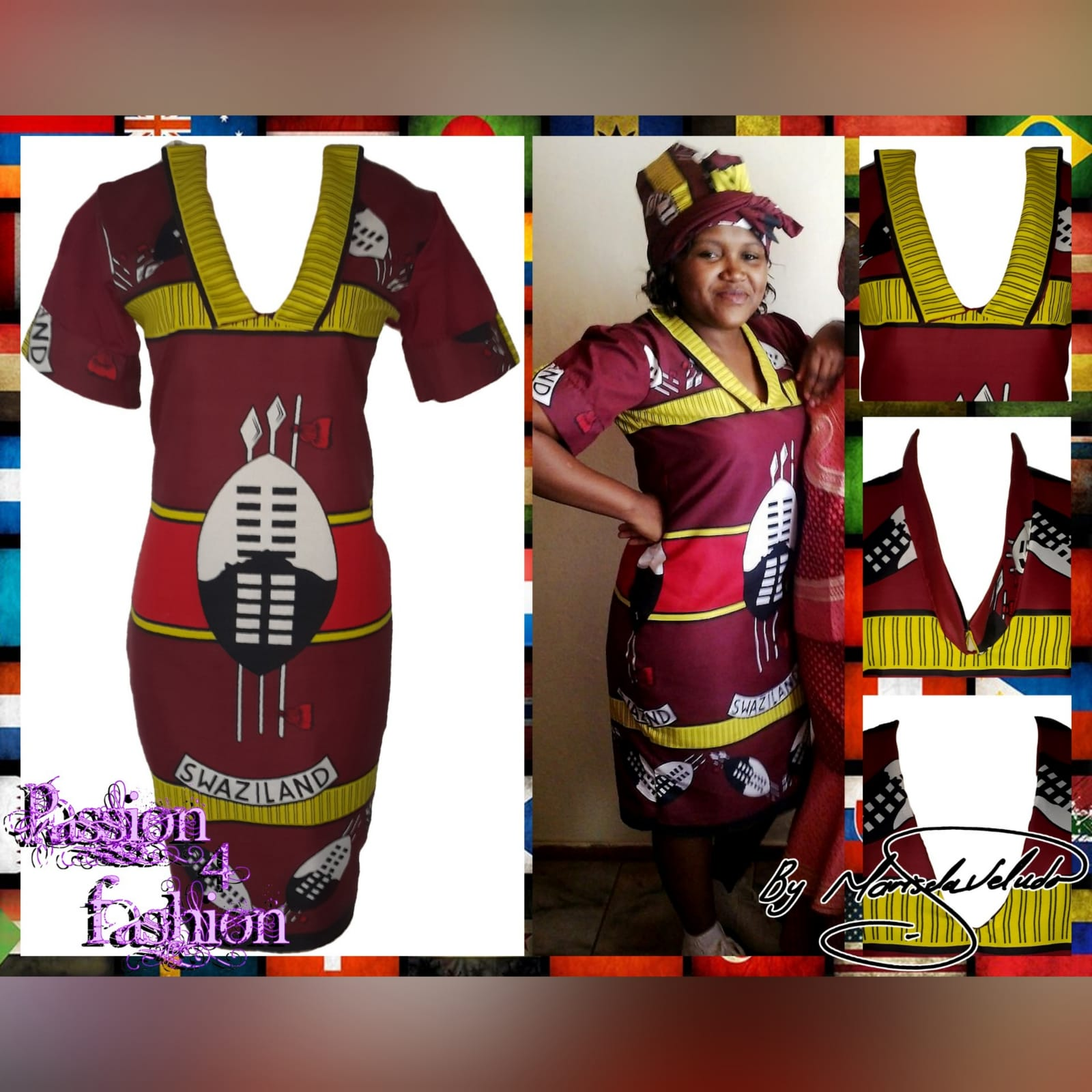 Traditional swati dress with matching swati doek 6 traditional swati dress with a v neckline, finished with a collar design that can be worn in 3 different ways. With a matching swati doek.