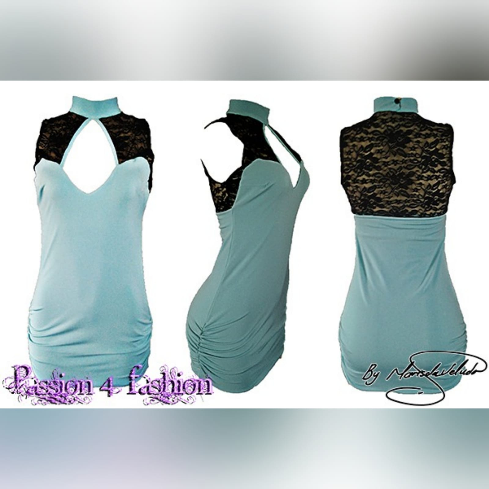 Turquoise blue and black short smart casual dress 4 turquoise blue and black short smart casual dress. With a choker neckline, open cleavage and black lace sheer back