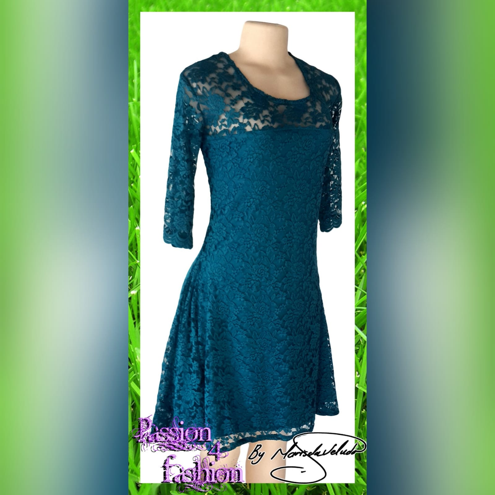 Turquoise blue smart casual knee length lace dress 1 turquoise blue smart casual knee length lace dress, with sheer lace neckline and sleeves.