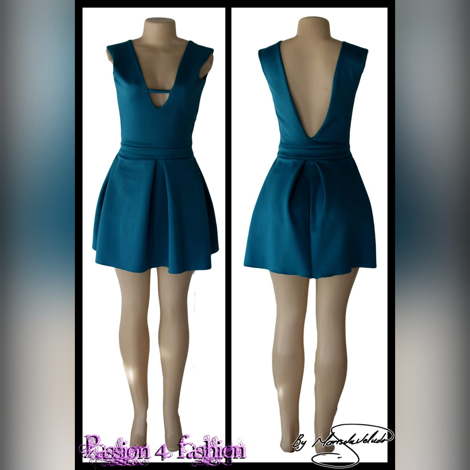 Turquoise green short smart casual dress 4 turquoise green short smart casual dress with a v neckline in front and a low v open back, with a waistband, and wide pleats on the bottom.