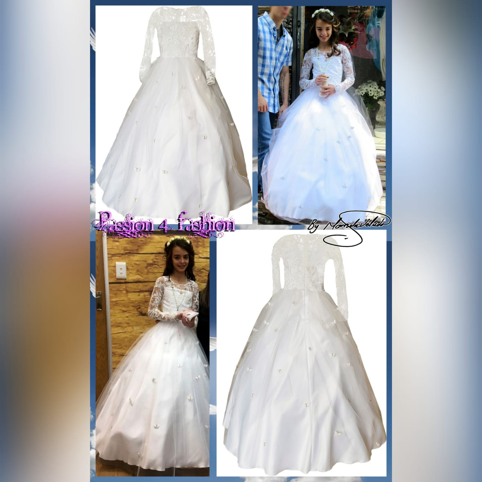 White holy communion ball gown dress 8 white holy communion ball gown dress. With a lace bodice. Long lace sleeves. Holy communion dress detailed with butterflies.