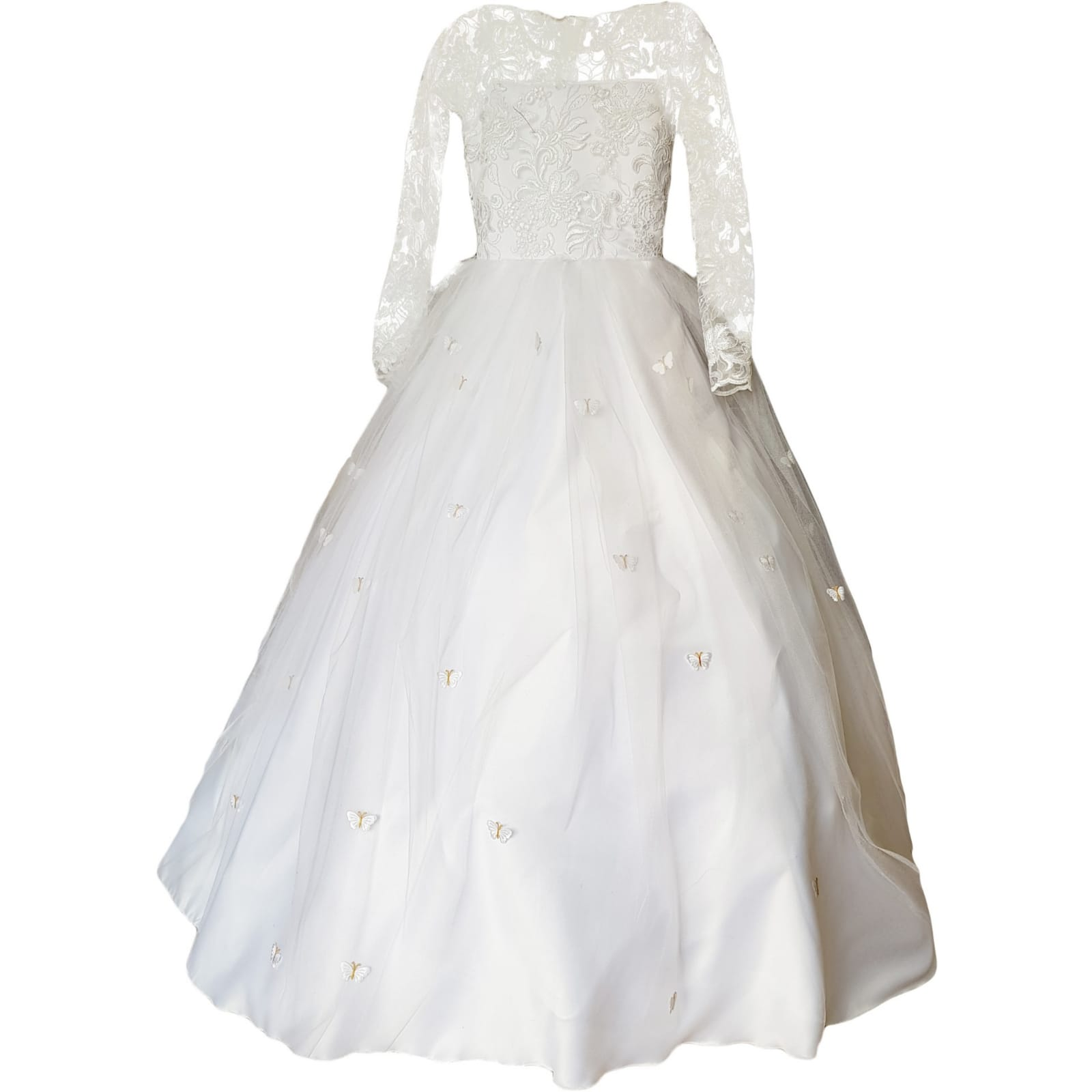 White holy communion ball gown dress 5 white holy communion ball gown dress. With a lace bodice. Long lace sleeves. Holy communion dress detailed with butterflies.