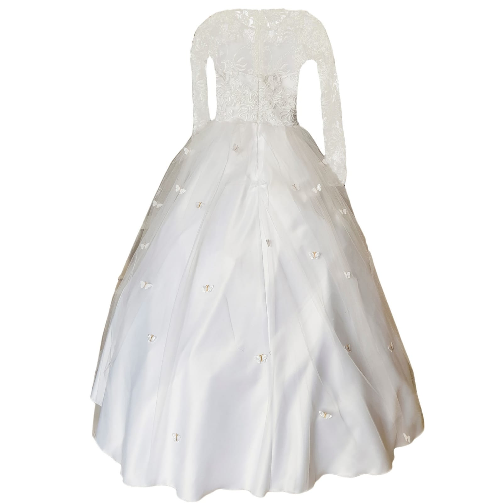 White holy communion ball gown dress 4 white holy communion ball gown dress. With a lace bodice. Long lace sleeves. Holy communion dress detailed with butterflies.