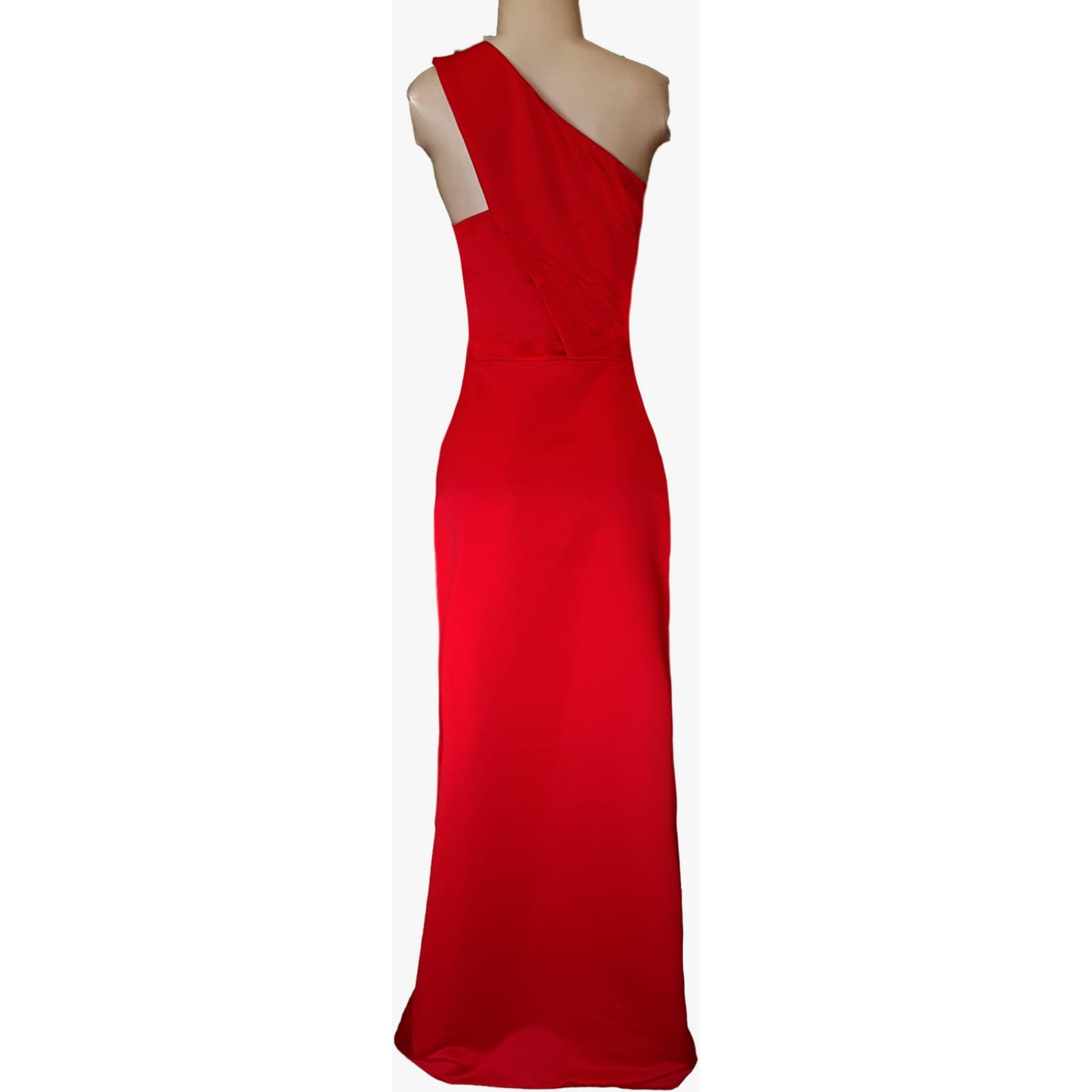 Bright red duchess satin single shoulder prom dress 4 bright red duchess satin single shoulder prom dress. Straight fit with a crossed slit.