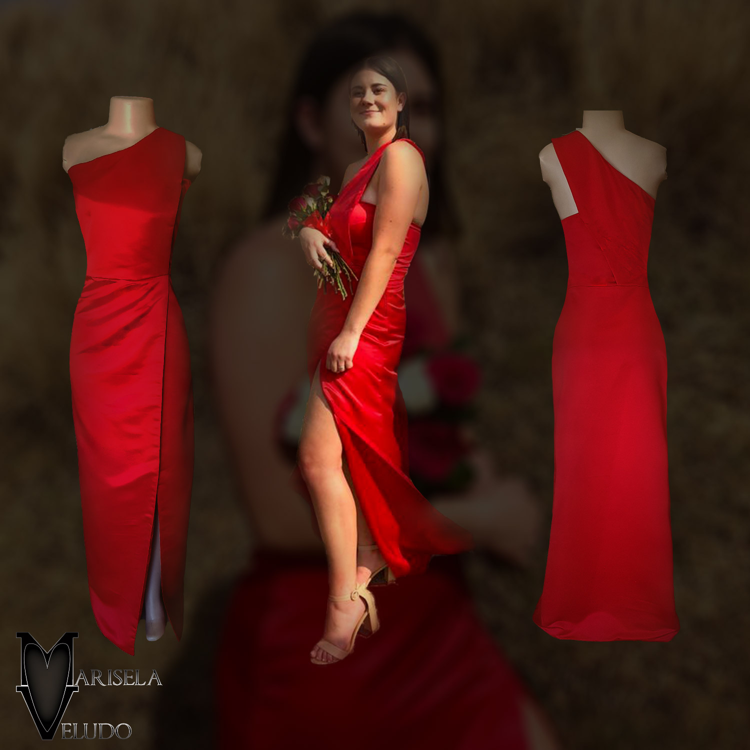 Bright red duchess satin single shoulder prom dress 2 bright red duchess satin single shoulder prom dress. Straight fit with a crossed slit.