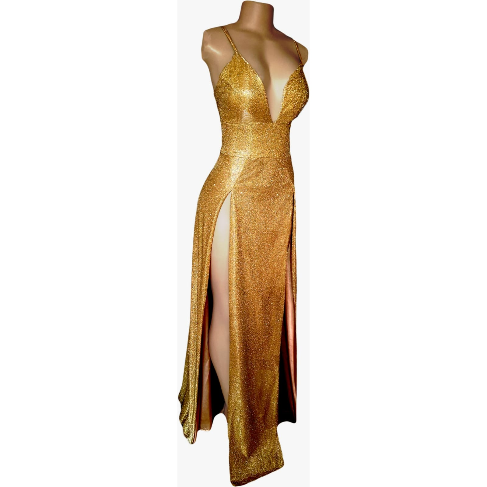 Gold shimmer long sexy prom dress 8 gold shimmer long sexy prom dress with 2 high slits, low v neckline and a little train.