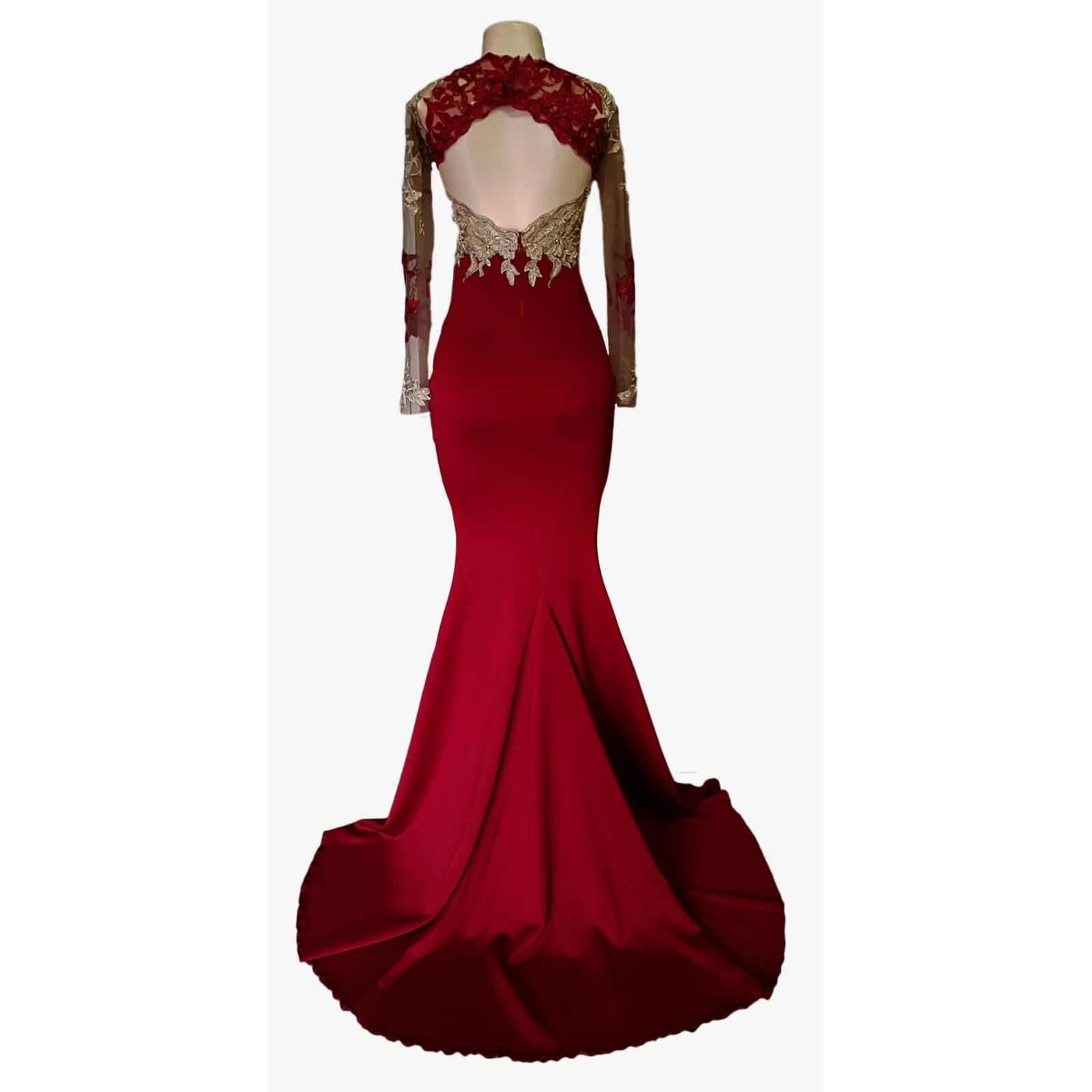 Red and gold lace soft mermaid matric dance dress 9 red and gold lace soft mermaid matric dance dress, illusion lace bodice and sleeves with a diamond shaped open back and a train.