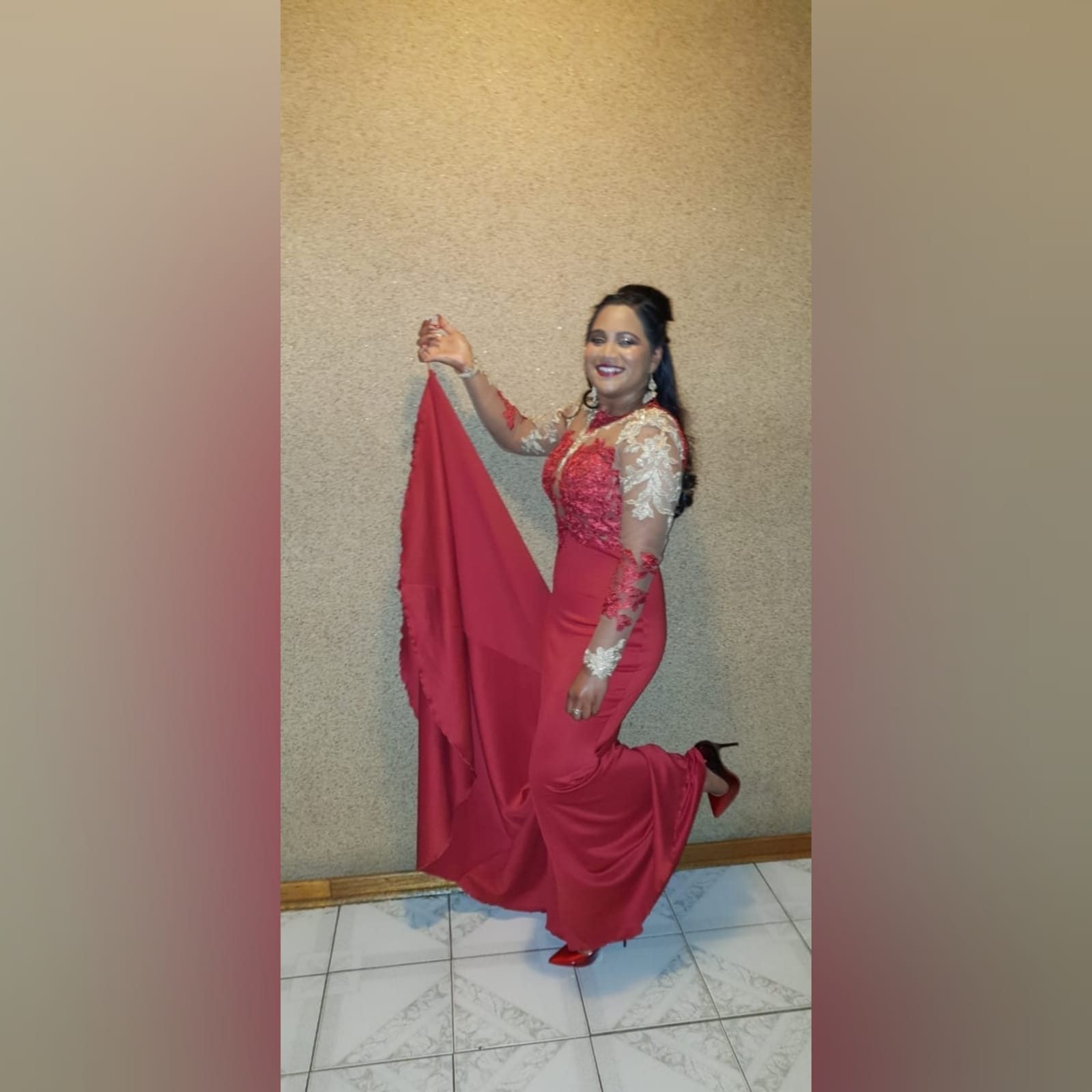 Red and gold lace soft mermaid matric dance dress 6 red and gold lace soft mermaid matric dance dress, illusion lace bodice and sleeves with a diamond shaped open back and a train.