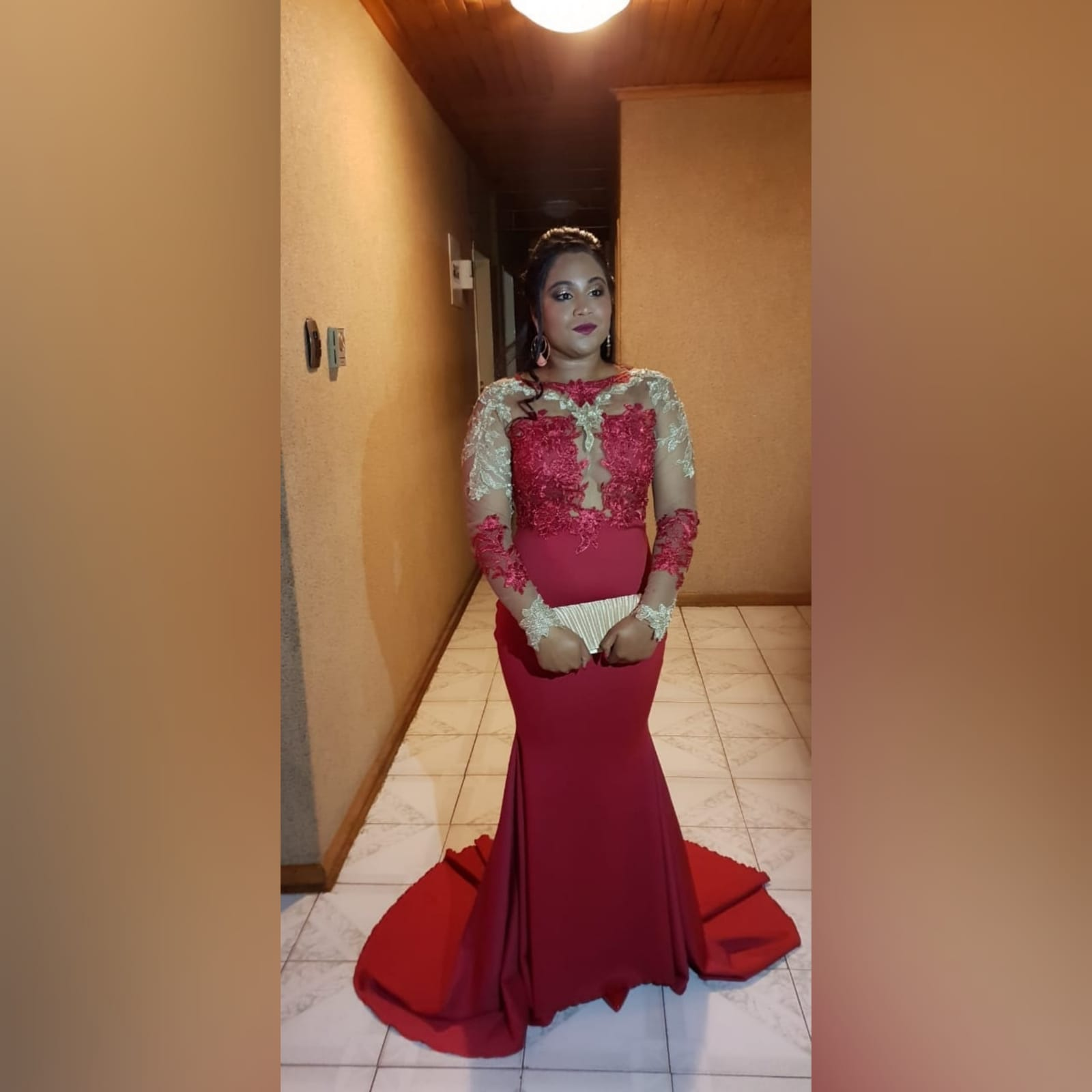 Red and gold lace soft mermaid matric dance dress 4 red and gold lace soft mermaid matric dance dress, illusion lace bodice and sleeves with a diamond shaped open back and a train.