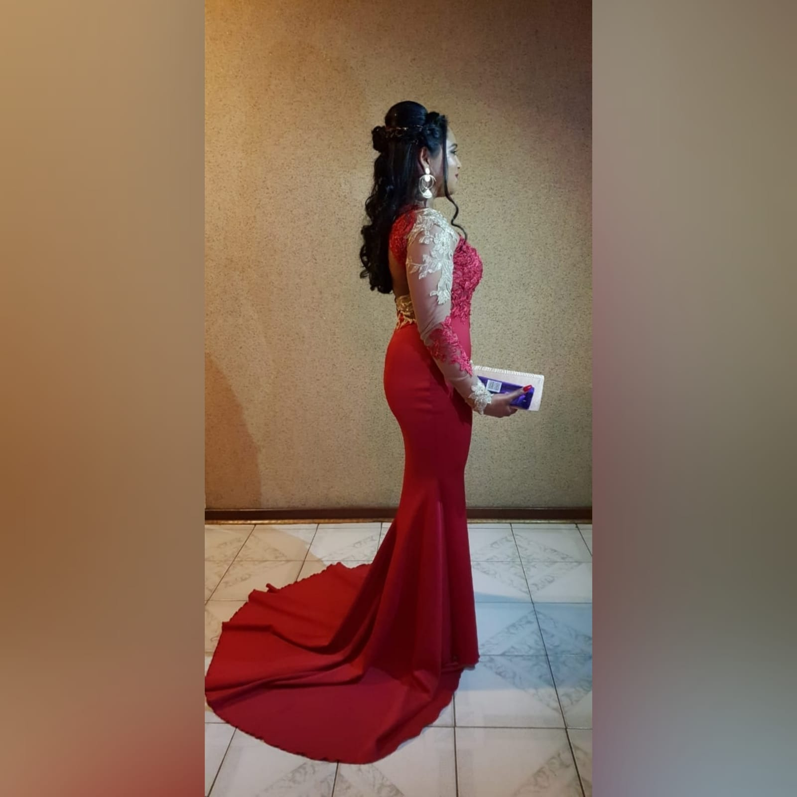 Red and gold lace soft mermaid matric dance dress 1 red and gold lace soft mermaid matric dance dress, illusion lace bodice and sleeves with a diamond shaped open back and a train.