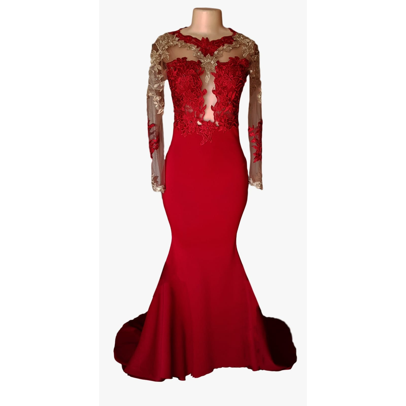 Red and gold lace soft mermaid matric dance dress 8 red and gold lace soft mermaid matric dance dress, illusion lace bodice and sleeves with a diamond shaped open back and a train.