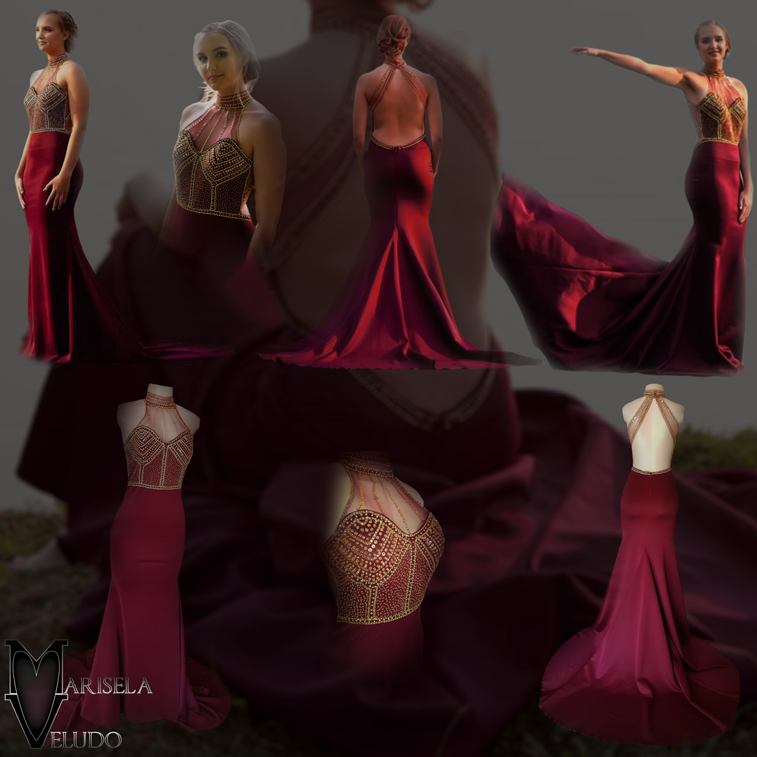 Maroon and gold matric farewell dress with a beaded bodice 10 maroon and gold matric farewell dress with a beaded bodice, low open back with beaded illusion straps. Illusion choker neckline detail with beads and diamante, with a slit and a train.