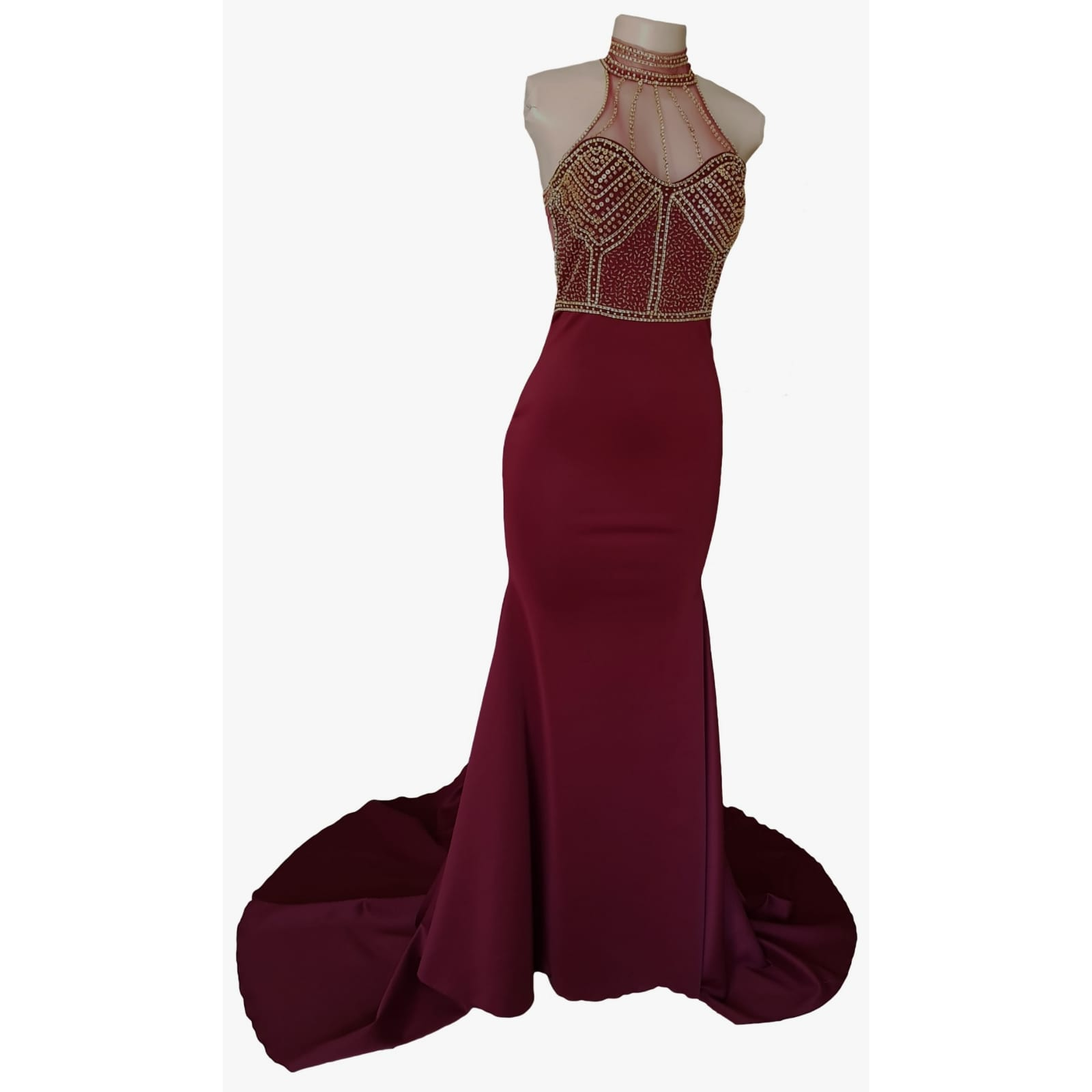 Maroon and gold matric farewell dress with a beaded bodice 11 maroon and gold matric farewell dress with a beaded bodice, low open back with beaded illusion straps. Illusion choker neckline detail with beads and diamante, with a slit and a train.