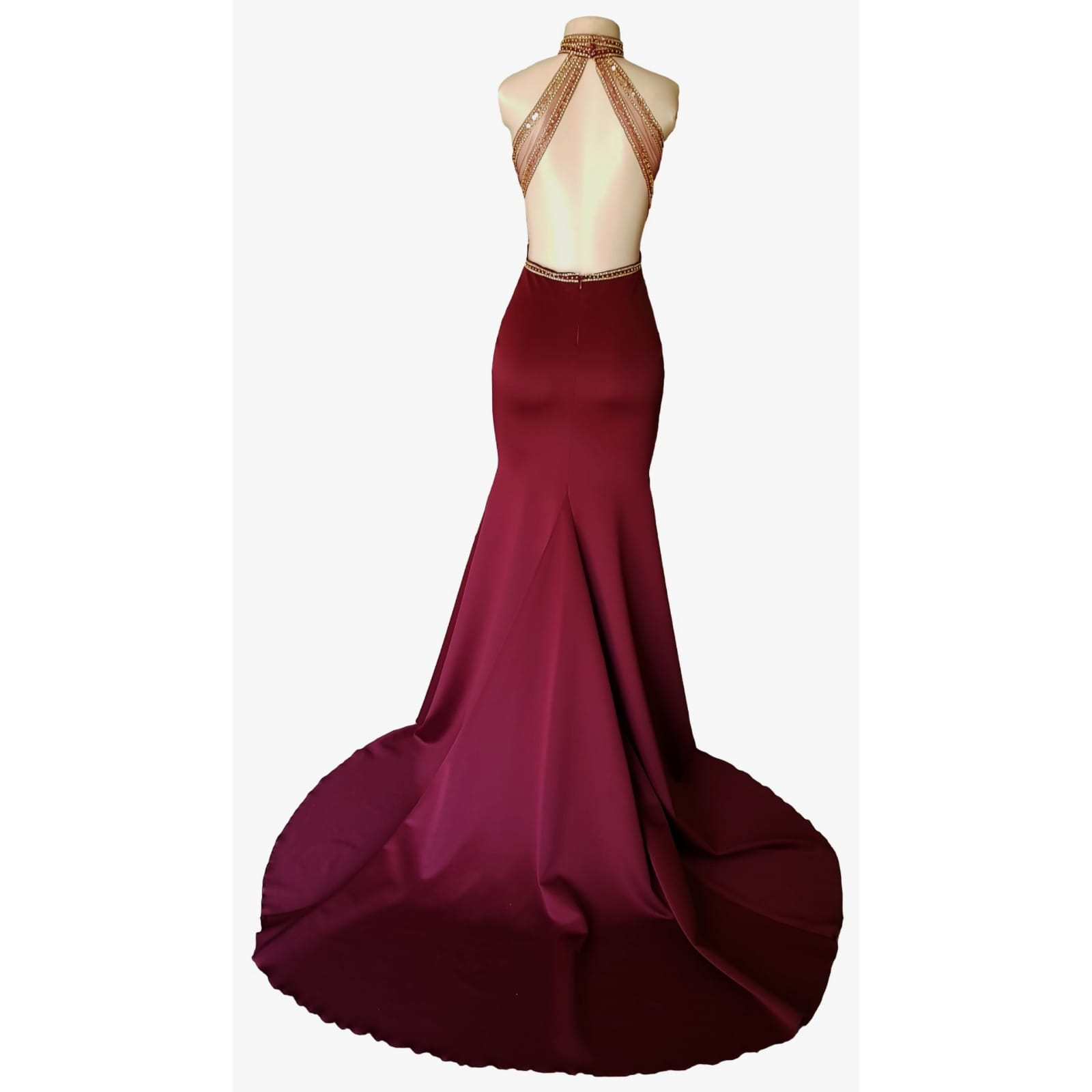 Maroon and gold matric farewell dress with a beaded bodice 12 maroon and gold matric farewell dress with a beaded bodice, low open back with beaded illusion straps. Illusion choker neckline detail with beads and diamante, with a slit and a train.