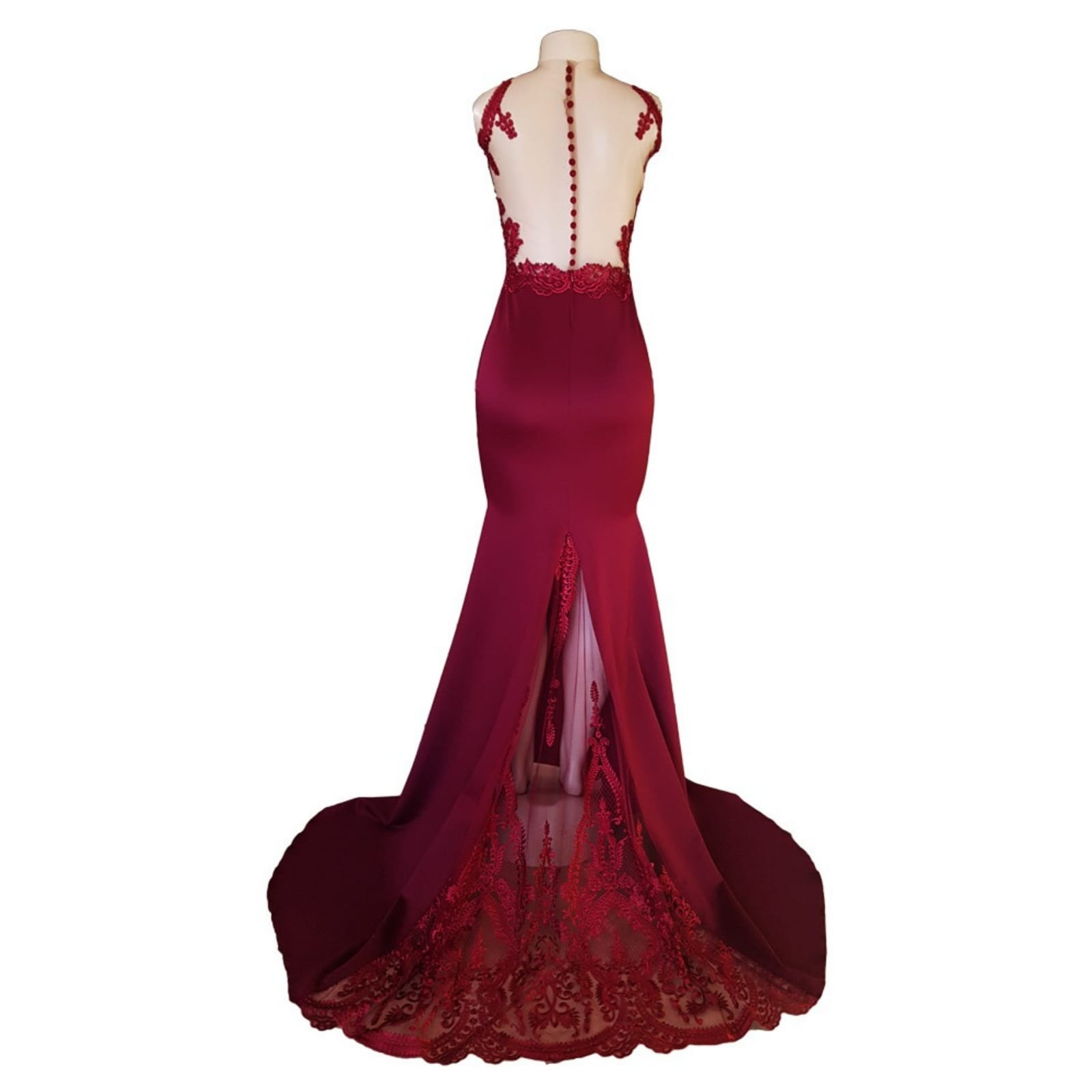 Maroon soft mermaid matric dance dress 7 maroon soft mermaid matric dance dress created to make celine look glorious in her special night. With a sheer lace train that hooks up on the side, a naked illusion back with button and lace detail adding a touch of sensuality and elegance to her look.