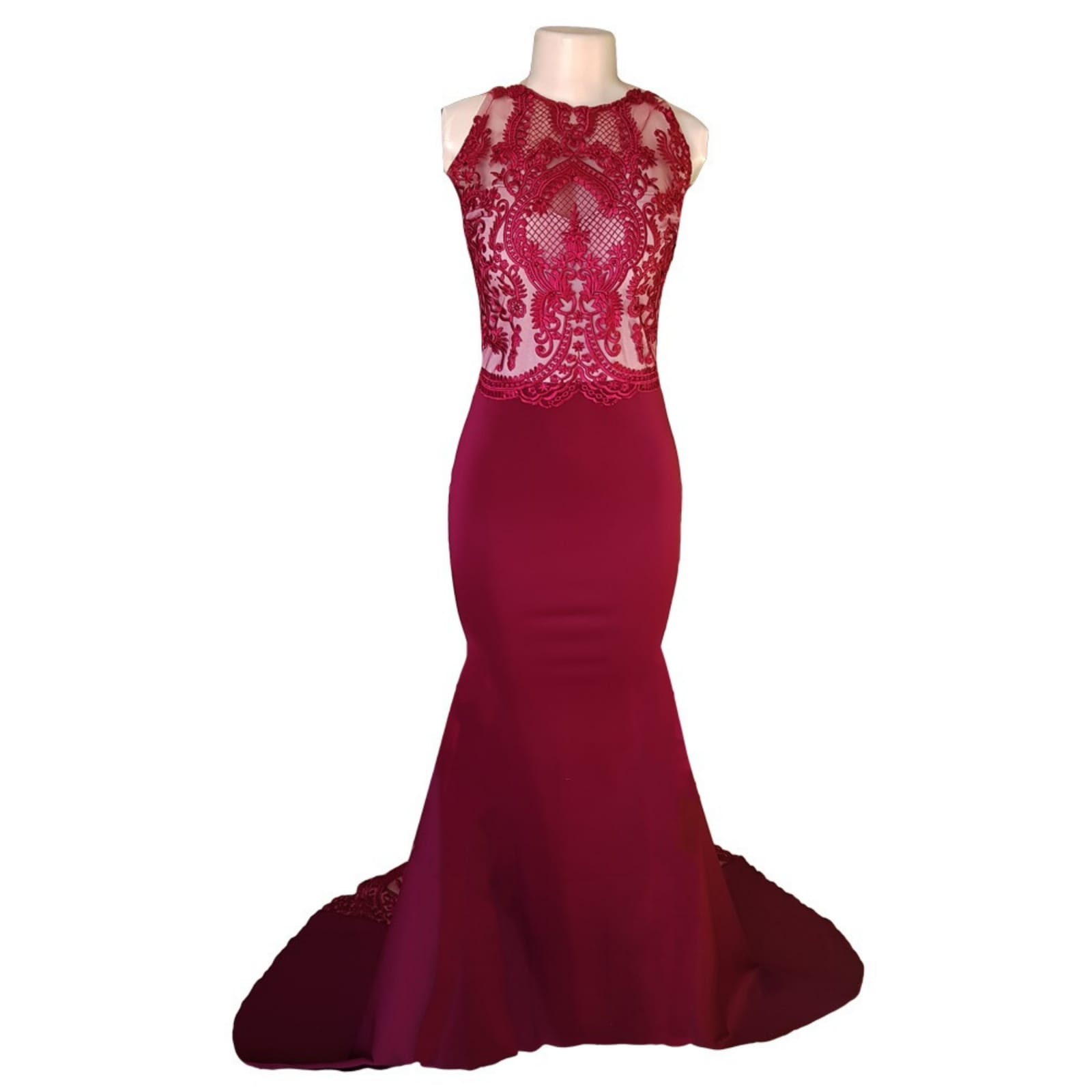 Maroon soft mermaid matric dance dress 8 maroon soft mermaid matric dance dress created to make celine look glorious in her special night. With a sheer lace train that hooks up on the side, a naked illusion back with button and lace detail adding a touch of sensuality and elegance to her look.