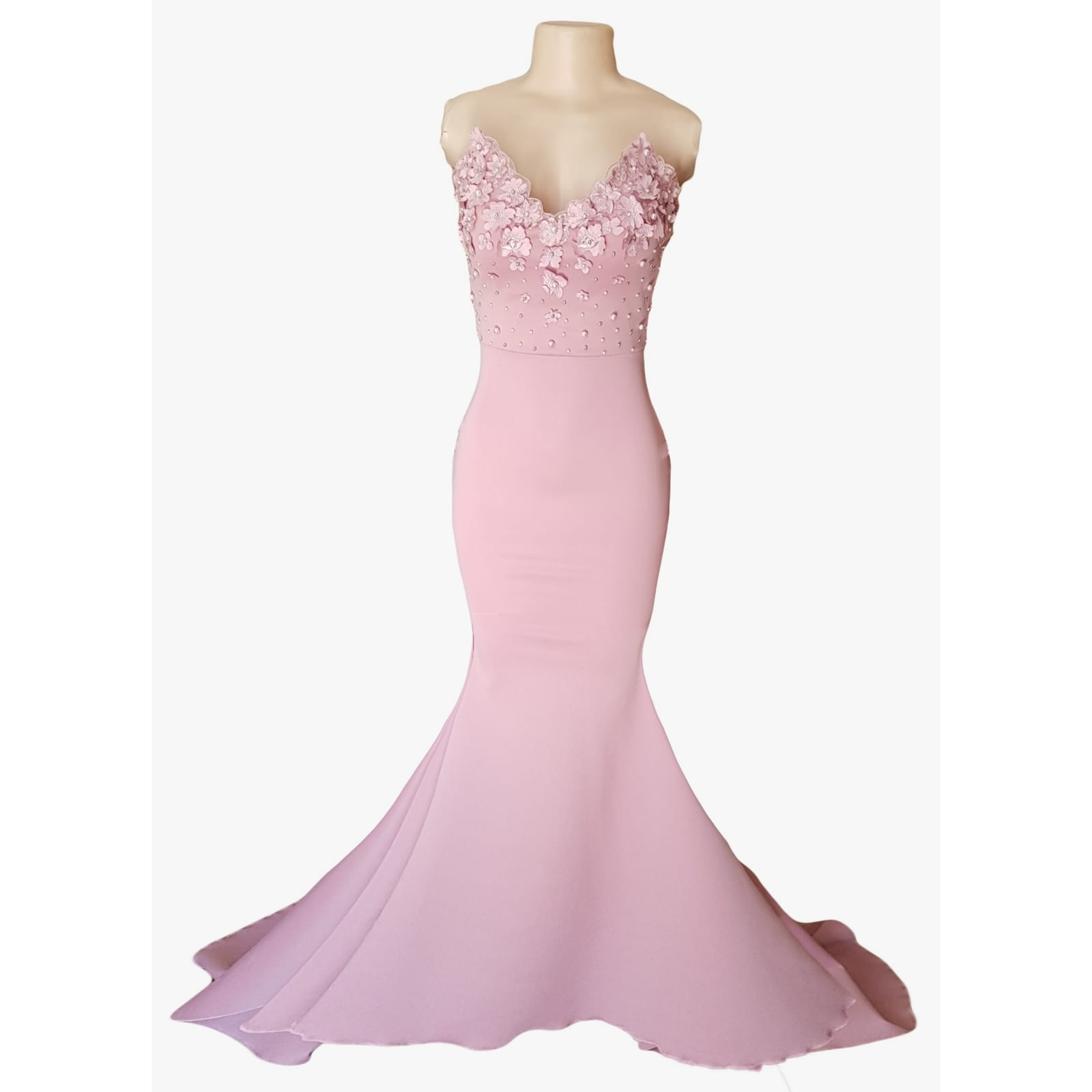 Pale pink soft mermaid matric dance dress 6 pale pink soft mermaid matric dance dress, bodice detailed with pearls and 3d lace, with a train and detachable neck strap.