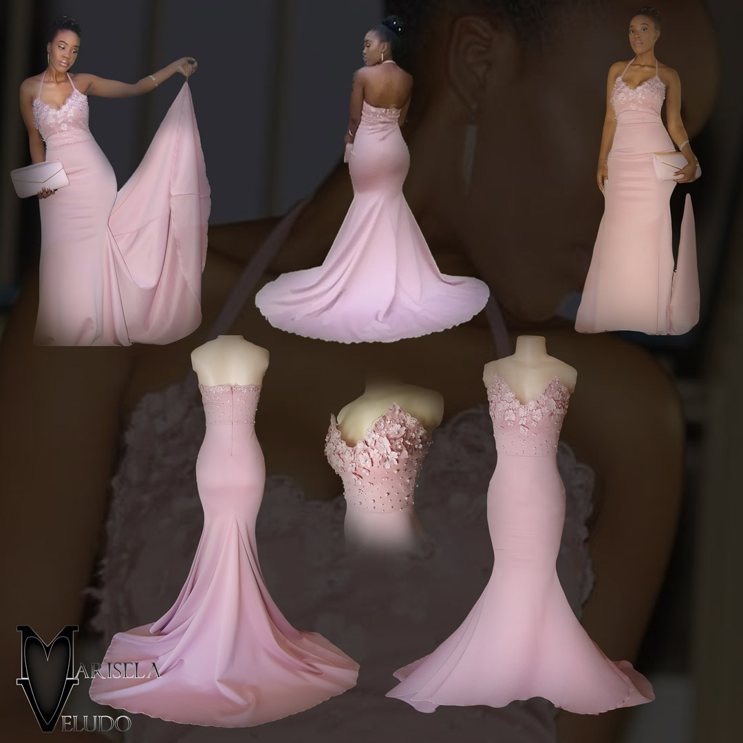 Pale pink soft mermaid matric dance dress 5 pale pink soft mermaid matric dance dress, bodice detailed with pearls and 3d lace, with a train and detachable neck strap.