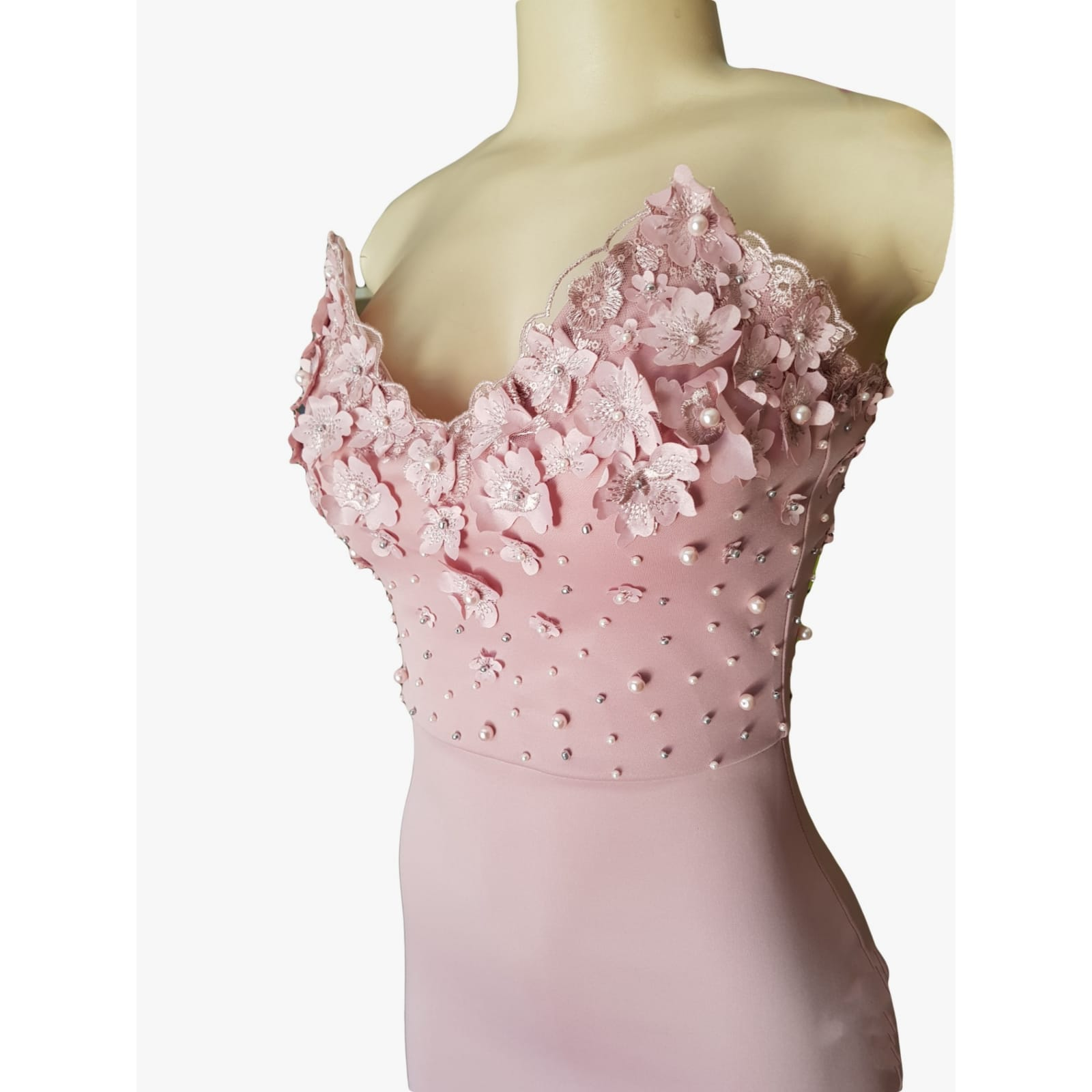 Pale pink soft mermaid matric dance dress 7 pale pink soft mermaid matric dance dress, bodice detailed with pearls and 3d lace, with a train and detachable neck strap.