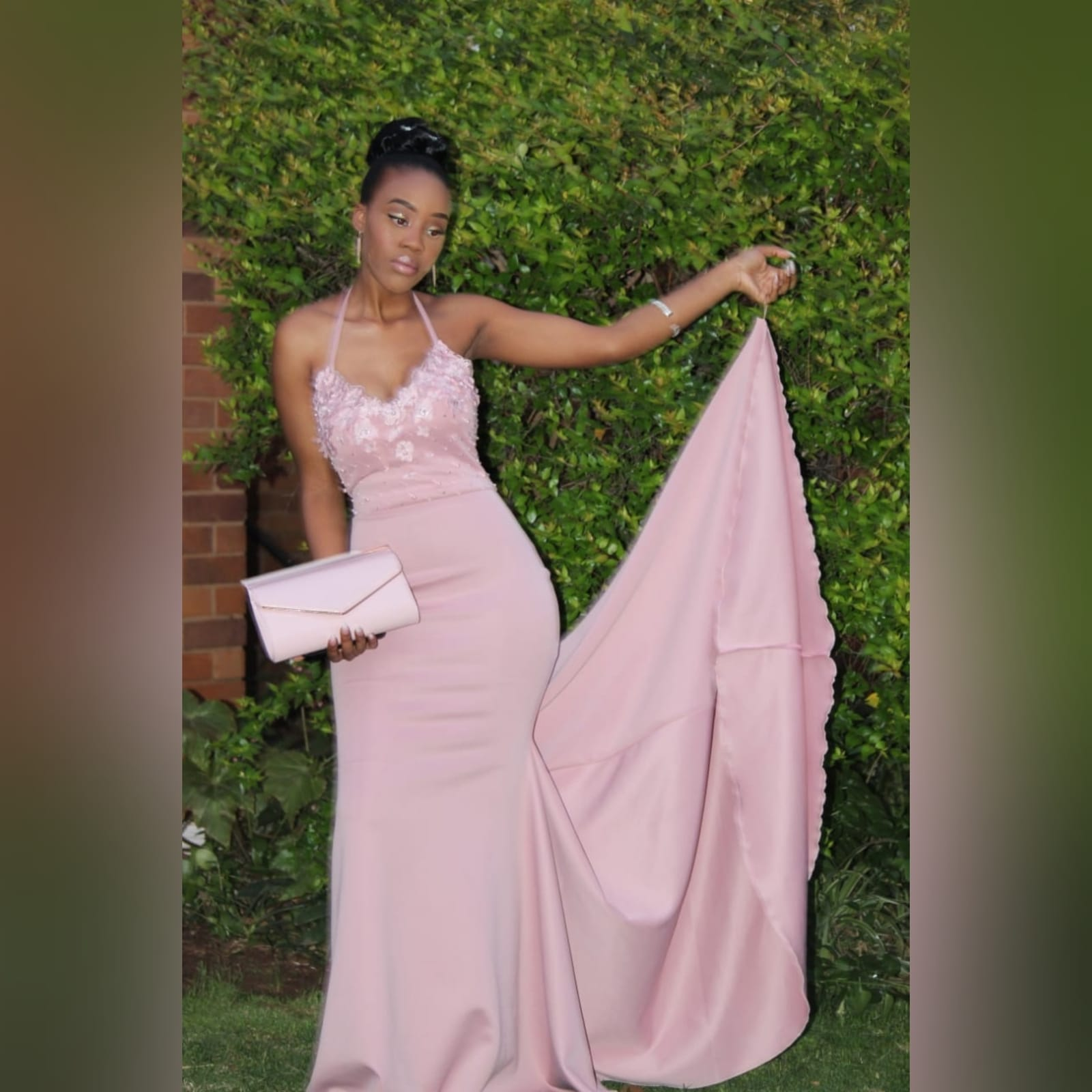 Pale pink soft mermaid matric dance dress 1 pale pink soft mermaid matric dance dress, bodice detailed with pearls and 3d lace, with a train and detachable neck strap.
