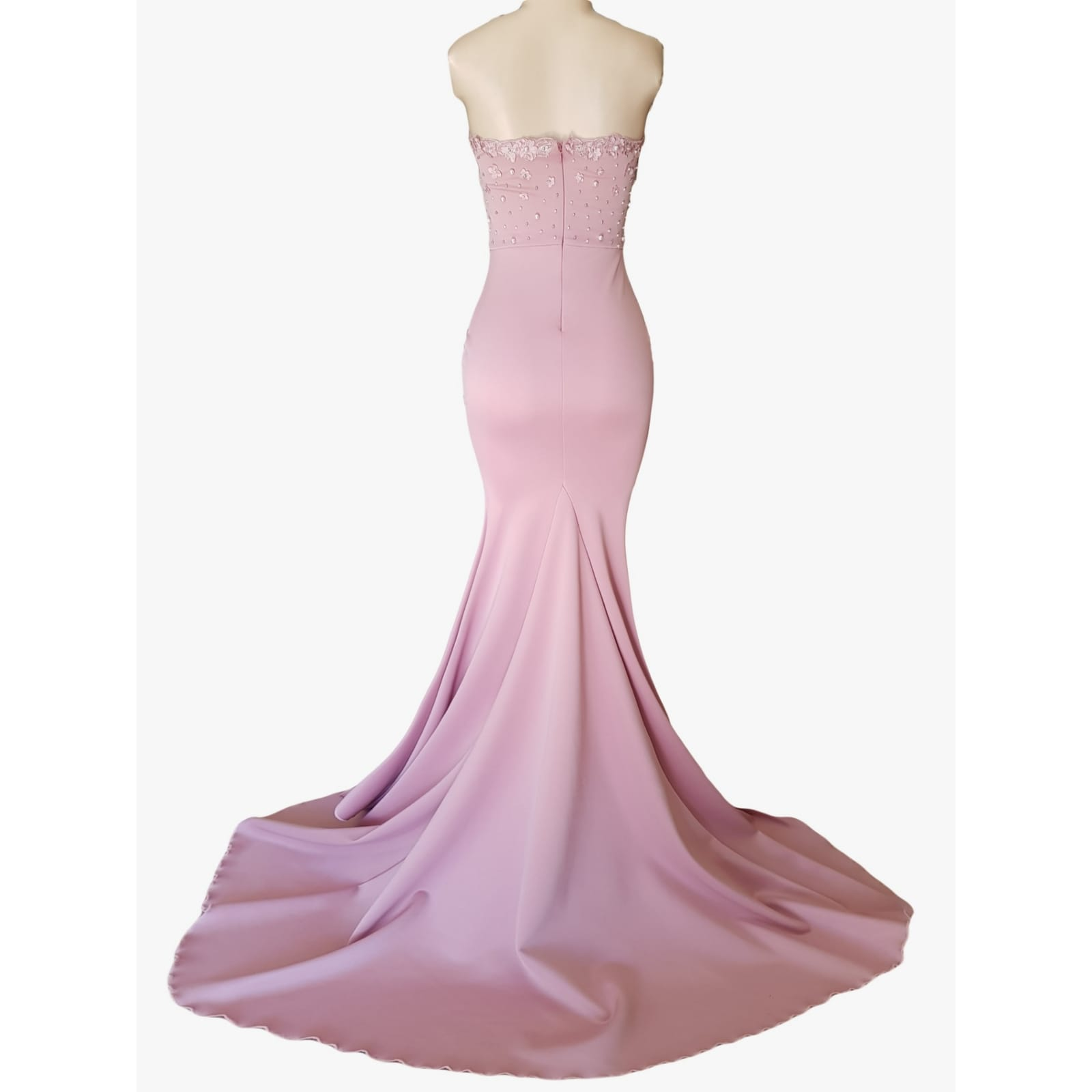 Pale pink soft mermaid matric dance dress 4 pale pink soft mermaid matric dance dress, bodice detailed with pearls and 3d lace, with a train and detachable neck strap.