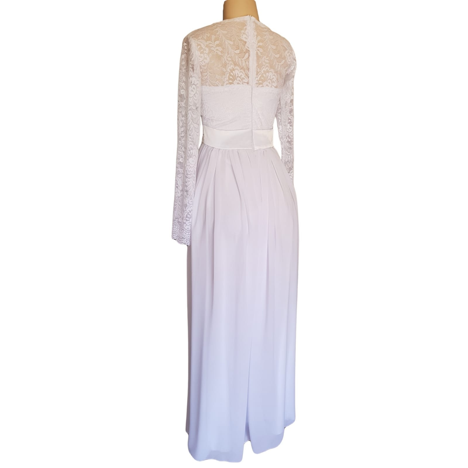 White lace bodice simple confirmation dress 6 white long lace bodice confirmation dress with long lace sleeves and a satin belt.