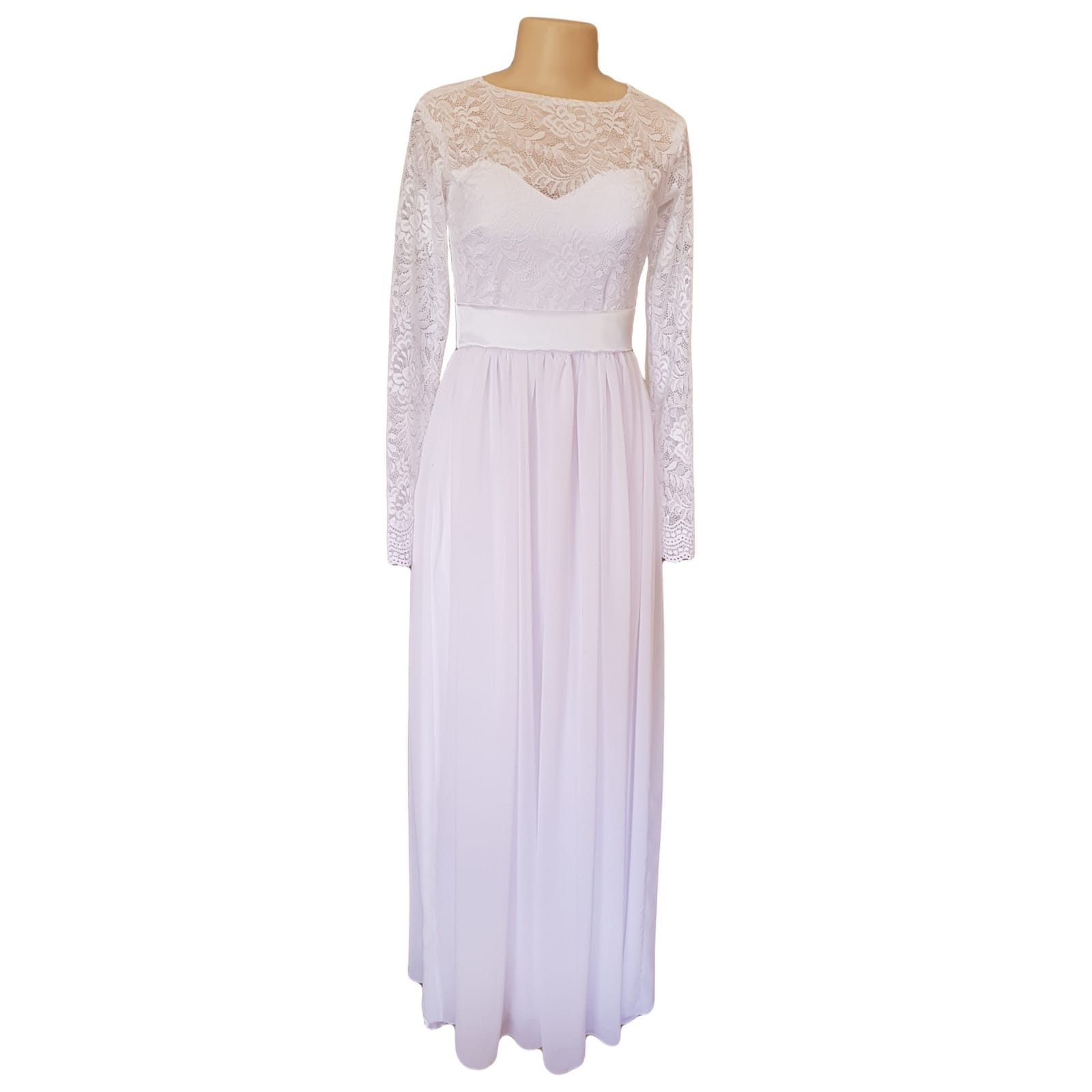 White lace bodice simple confirmation dress 7 white long lace bodice confirmation dress with long lace sleeves and a satin belt.