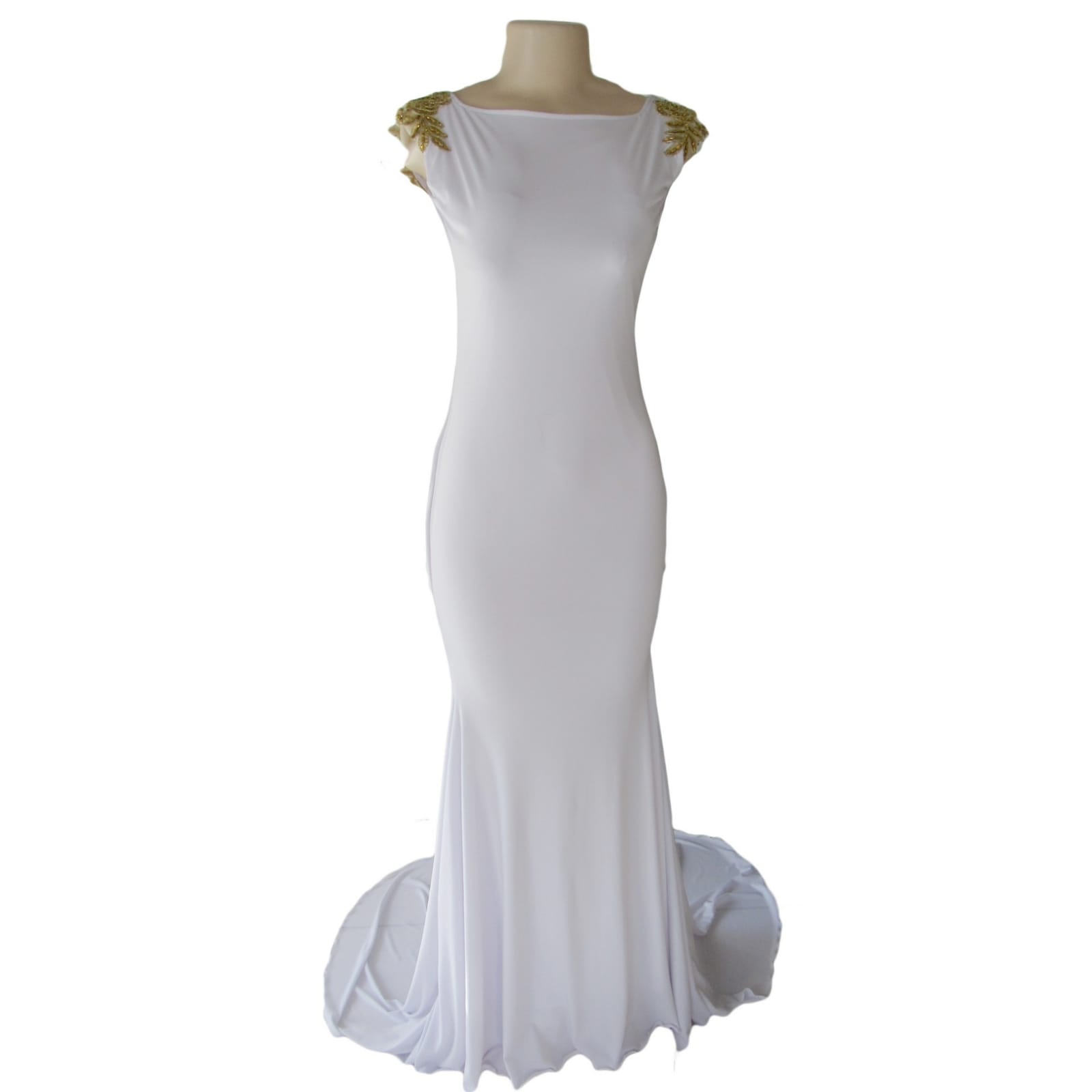 White long jewel neckline matric farewell dress with a rounded open back 5 white long jewel neckline matric farewell dress with a rounded open back, detailed with gold chains, shoulders detailed with gold lace.