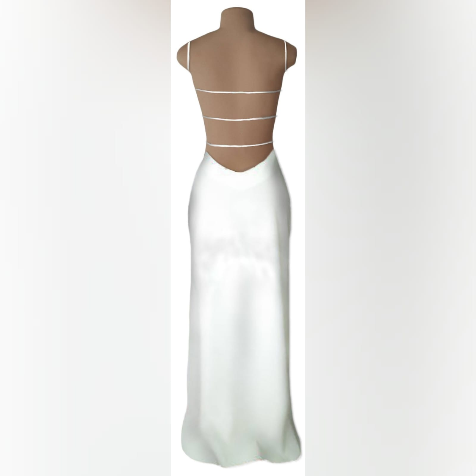 White long sexy evening dress 2 white long sexy evening dress with a low open back detailed with straps