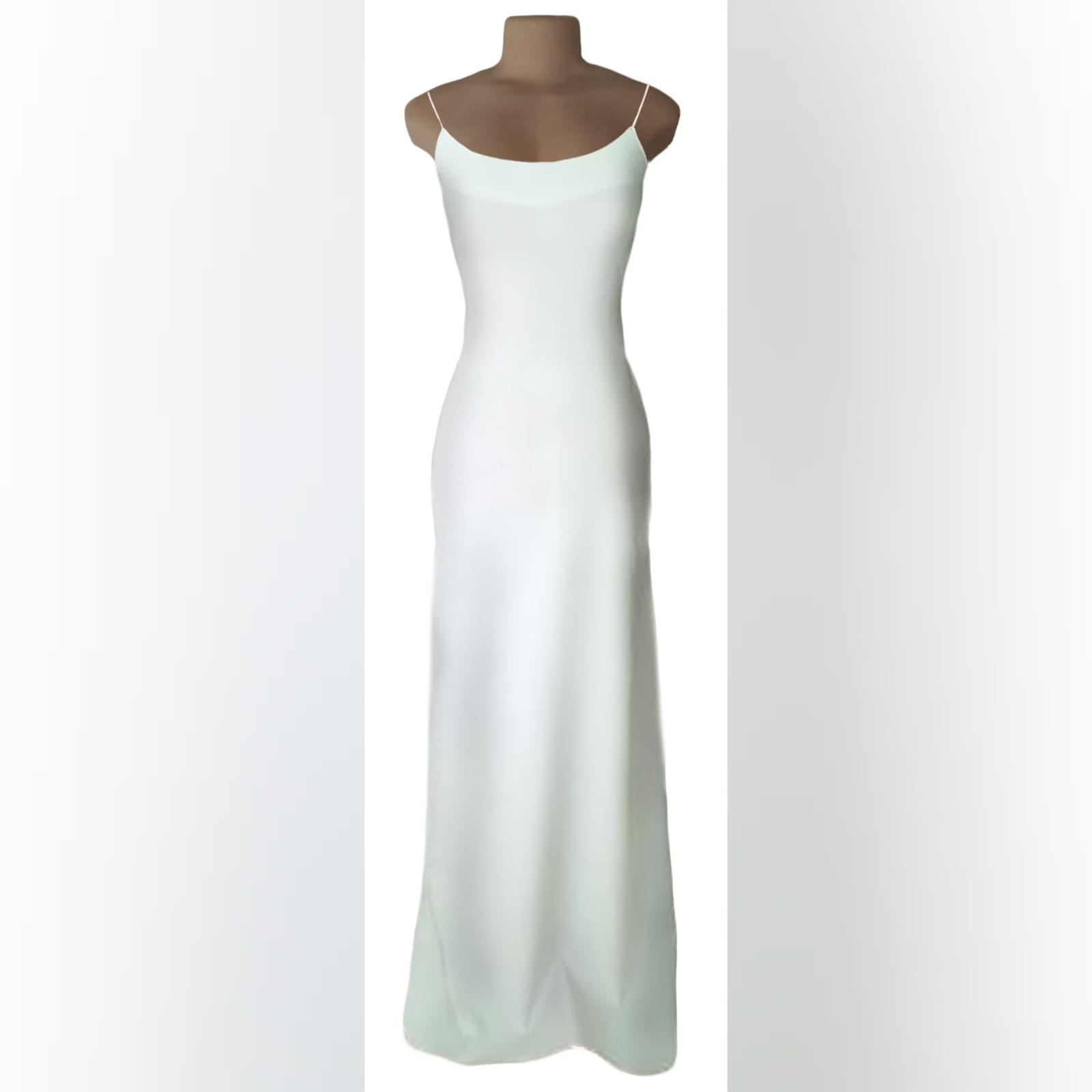 White long sexy evening dress 1 white long sexy evening dress with a low open back detailed with straps