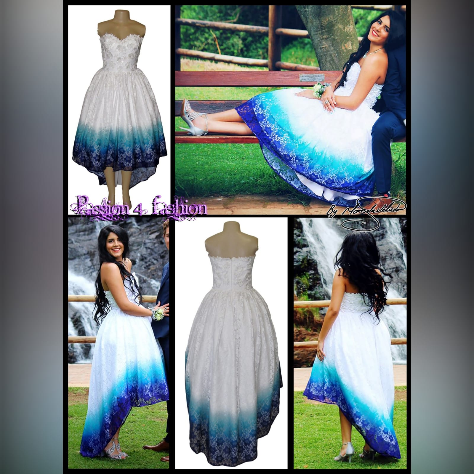 White ombre high low boob tube lace prom dress 5 white ombre high low boob tube lace dress, in blue, purple and turquoise with 3d lace detail on the bodice. Sweetheart neckline, straight back and a bit of volume.