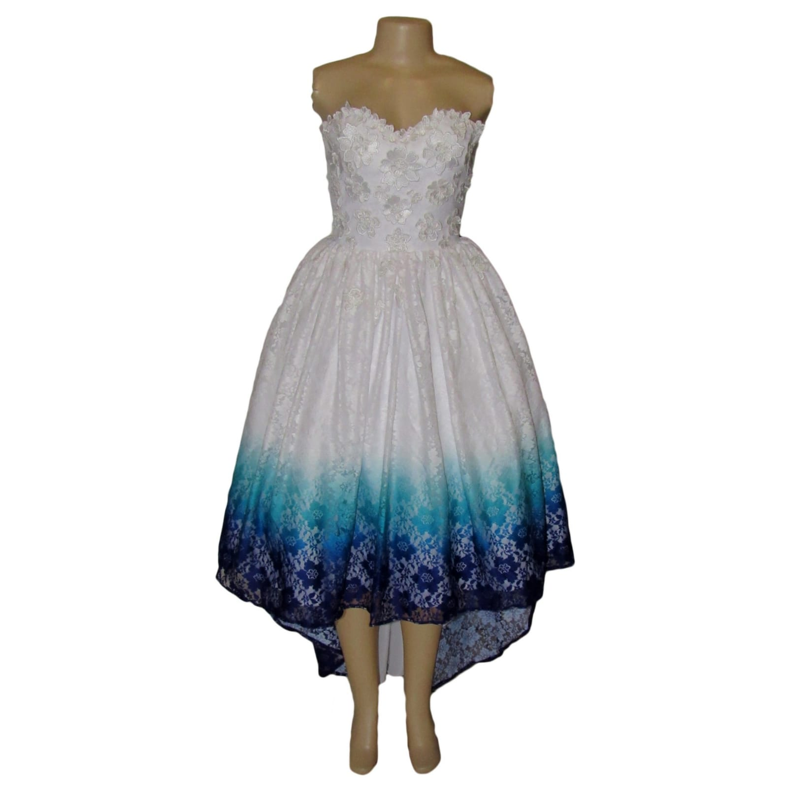 White ombre high low boob tube lace prom dress 6 white ombre high low boob tube lace dress, in blue, purple and turquoise with 3d lace detail on the bodice. Sweetheart neckline, straight back and a bit of volume.