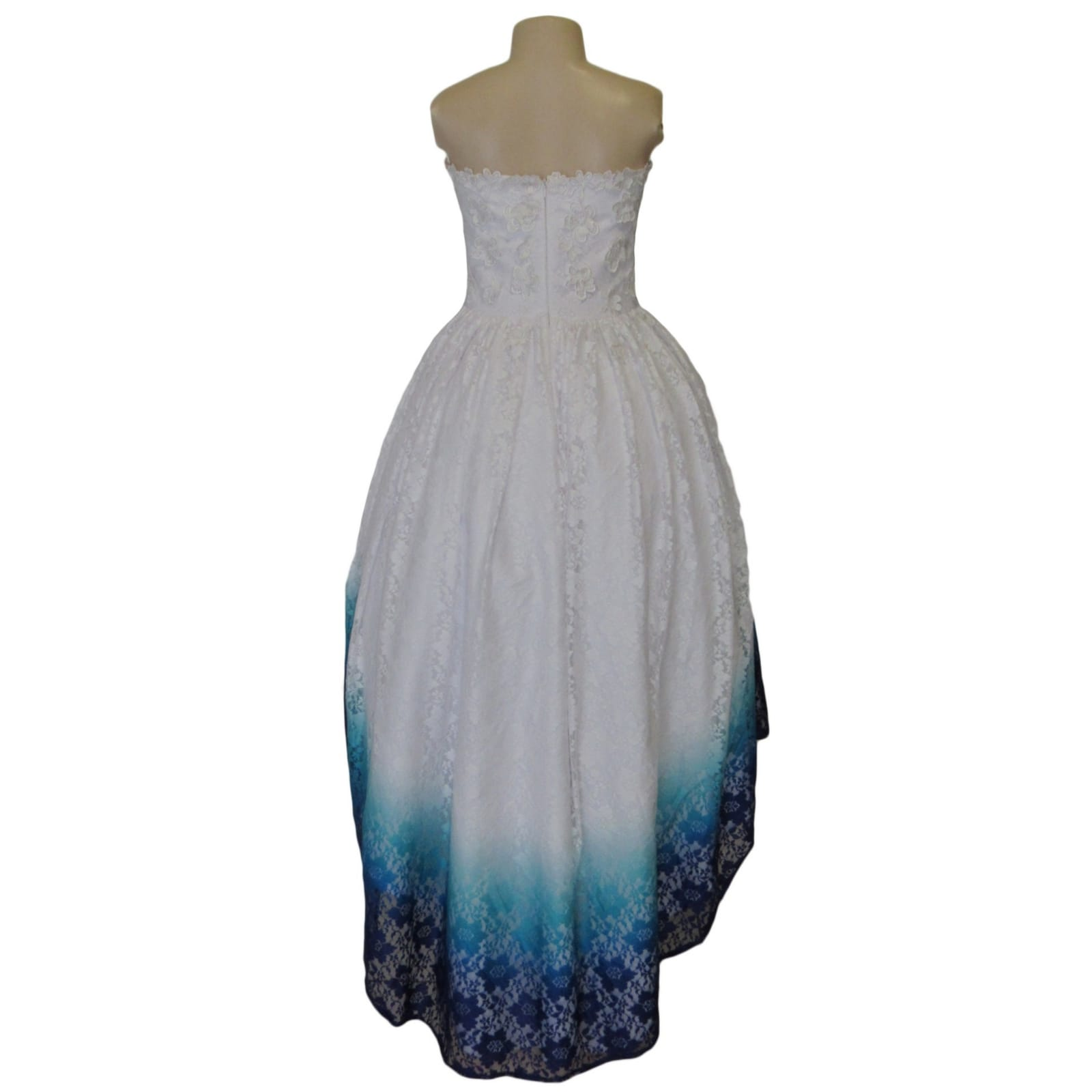 White ombre high low boob tube lace prom dress 7 white ombre high low boob tube lace dress, in blue, purple and turquoise with 3d lace detail on the bodice. Sweetheart neckline, straight back and a bit of volume.