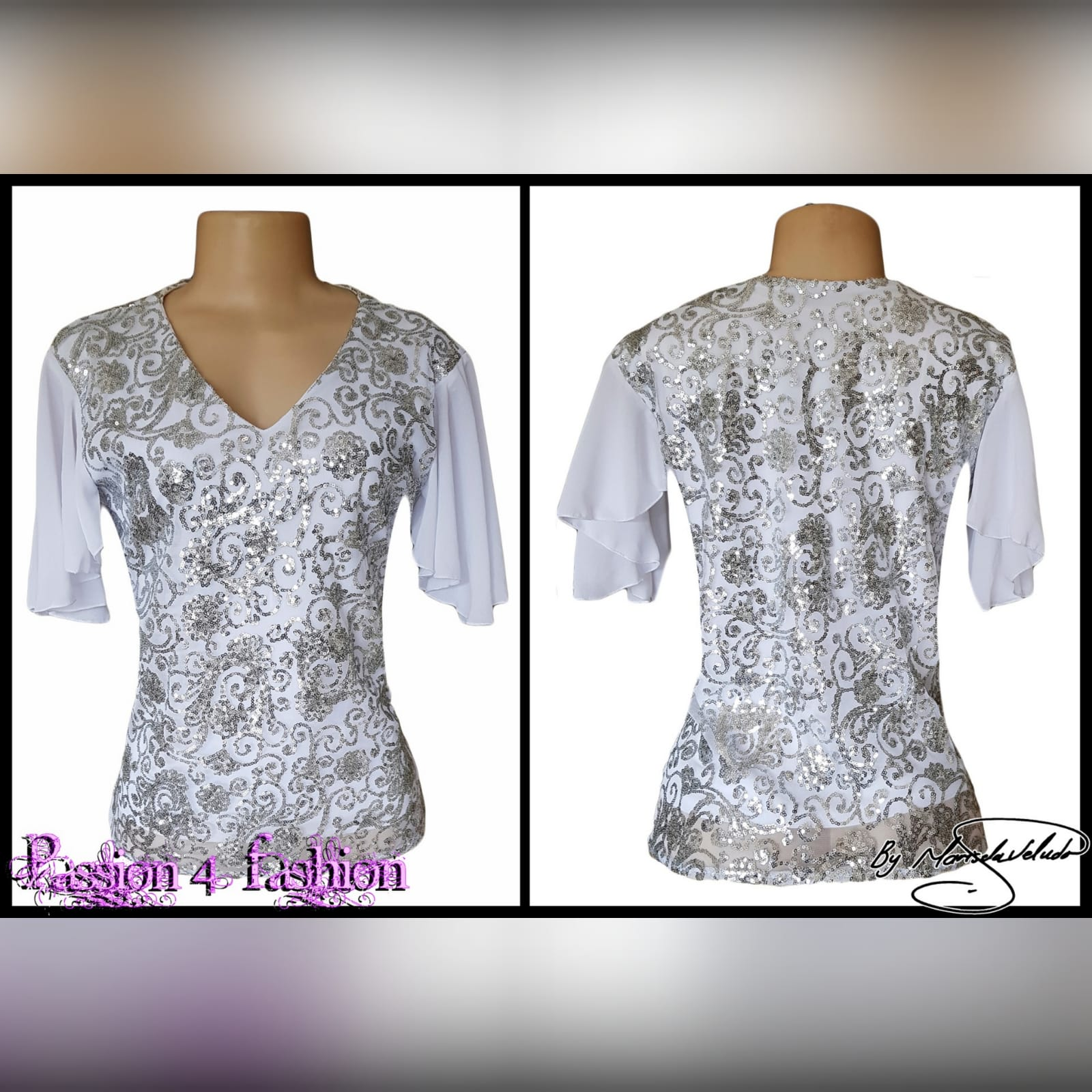 White patterned sequins smart casual top 4 white patterned sequins smart casual top with a v neckline and short chiffon flowy sleeves