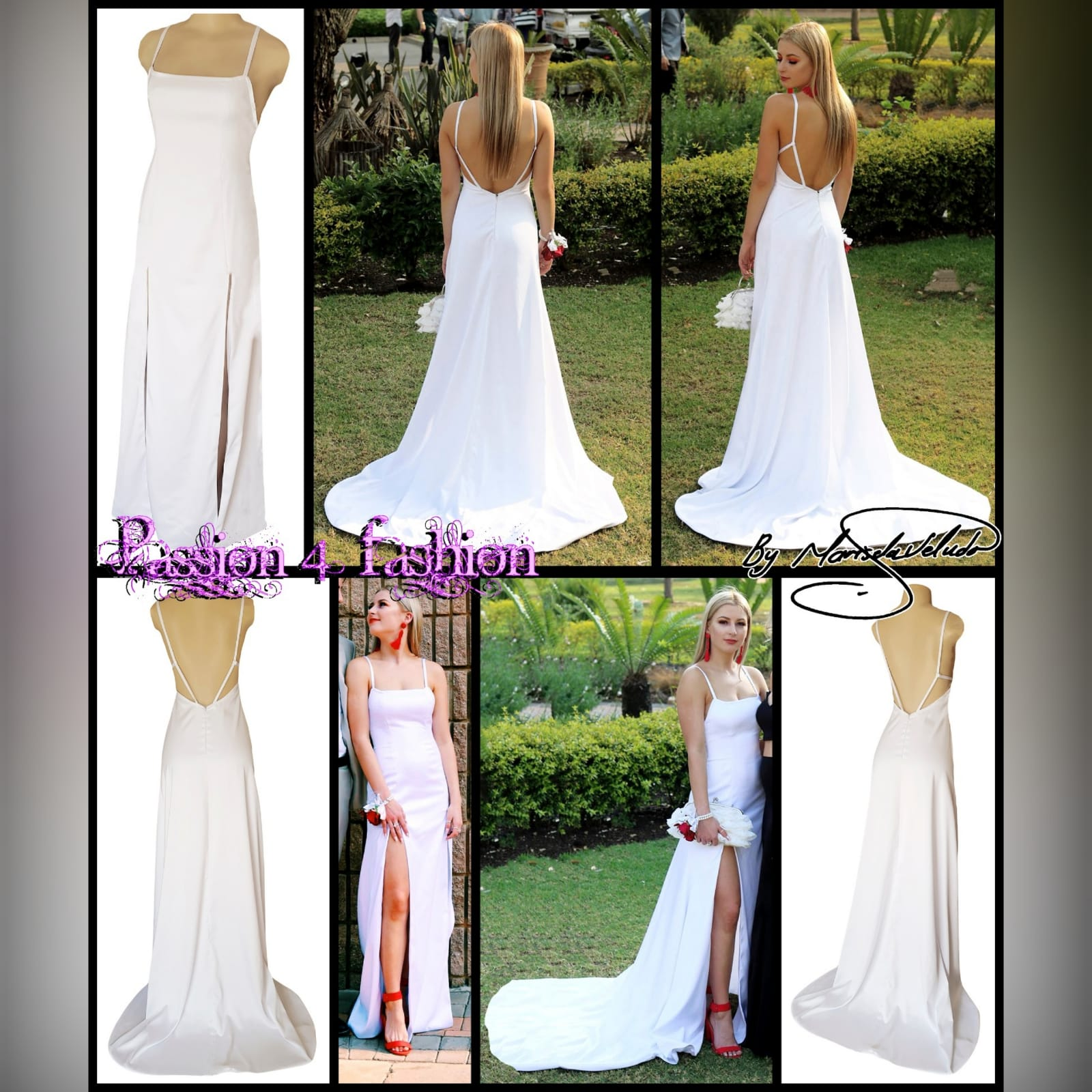 White satin long prom dress with a low open back 8 white satin long prom dress with a low open back, with strap detail. Straight neckline, 2 slits and a train.