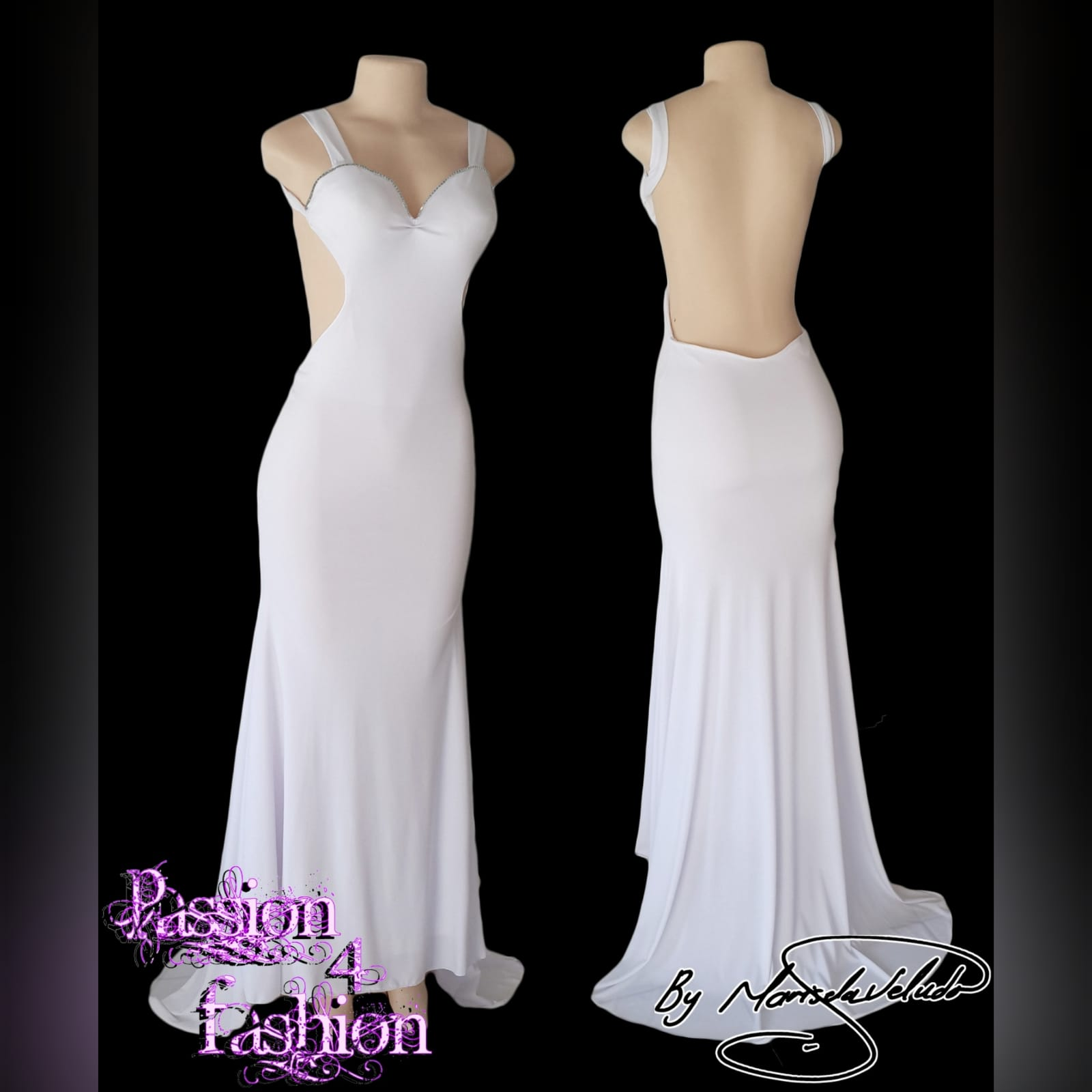 White sexy long evening dress with a low open back 3 white sexy long evening dress with a low open back, shoulder straps, sweetheart neckline with a diamante finish and a train