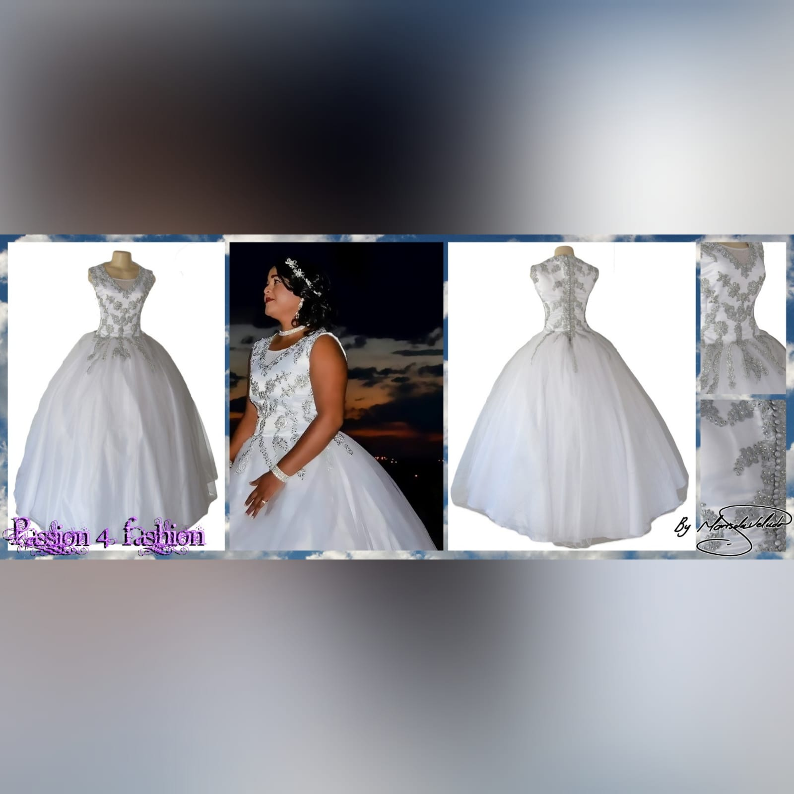 White & silver ball gown wedding dress 12 white & silver ballgown wedding dress. Bodice detailed with silver detail and beads. Falling to the ballgown. Back detailed with silver covered buttons.