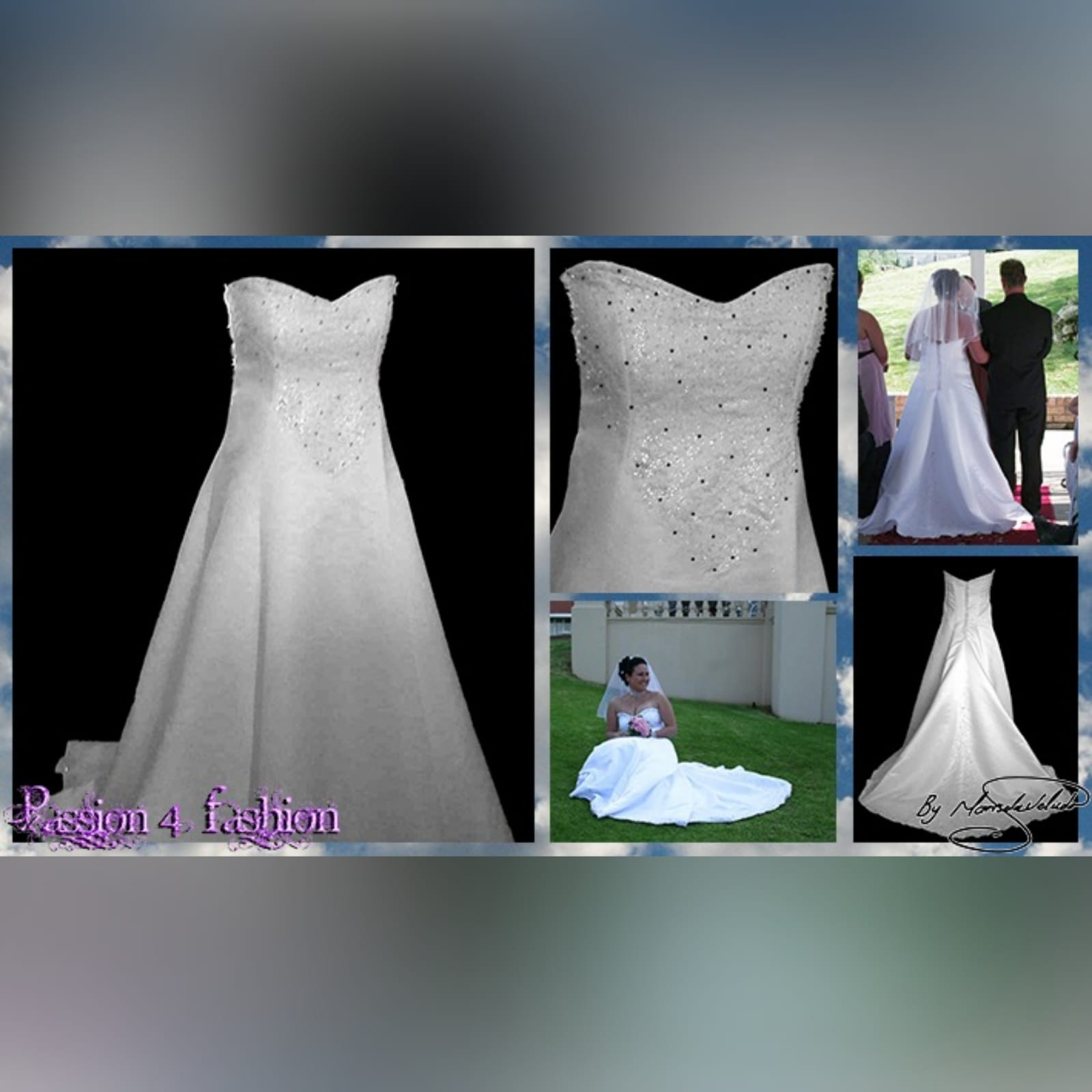 White & glitter ball gown wedding dress 7 white & glitter ball gown wedding dress. Bodice detailed with silver detail and beads. Falling to the ballgown. Back detailed with silver covered buttons.