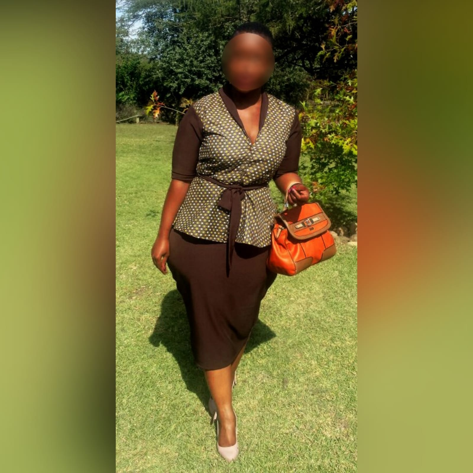 Xhosa traditional wear blouse and matching brown pencil skirt 1 a pencil skirt below the knee with a back slit. With a xhosa traditional blouse. Blouse with sleeves, collar and belt in brown matching the skirt.