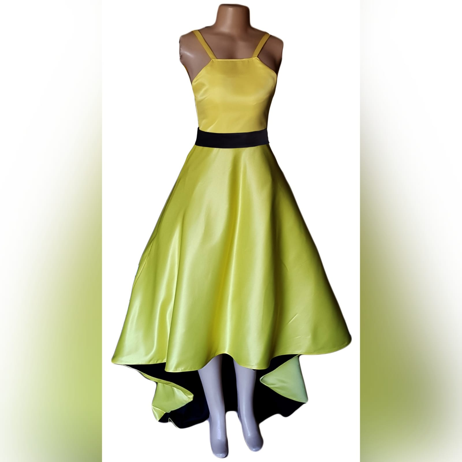 Yellow and black high low prom dress 4 yellow & black high low prom dress with an open back, pockets and a detachable black belt